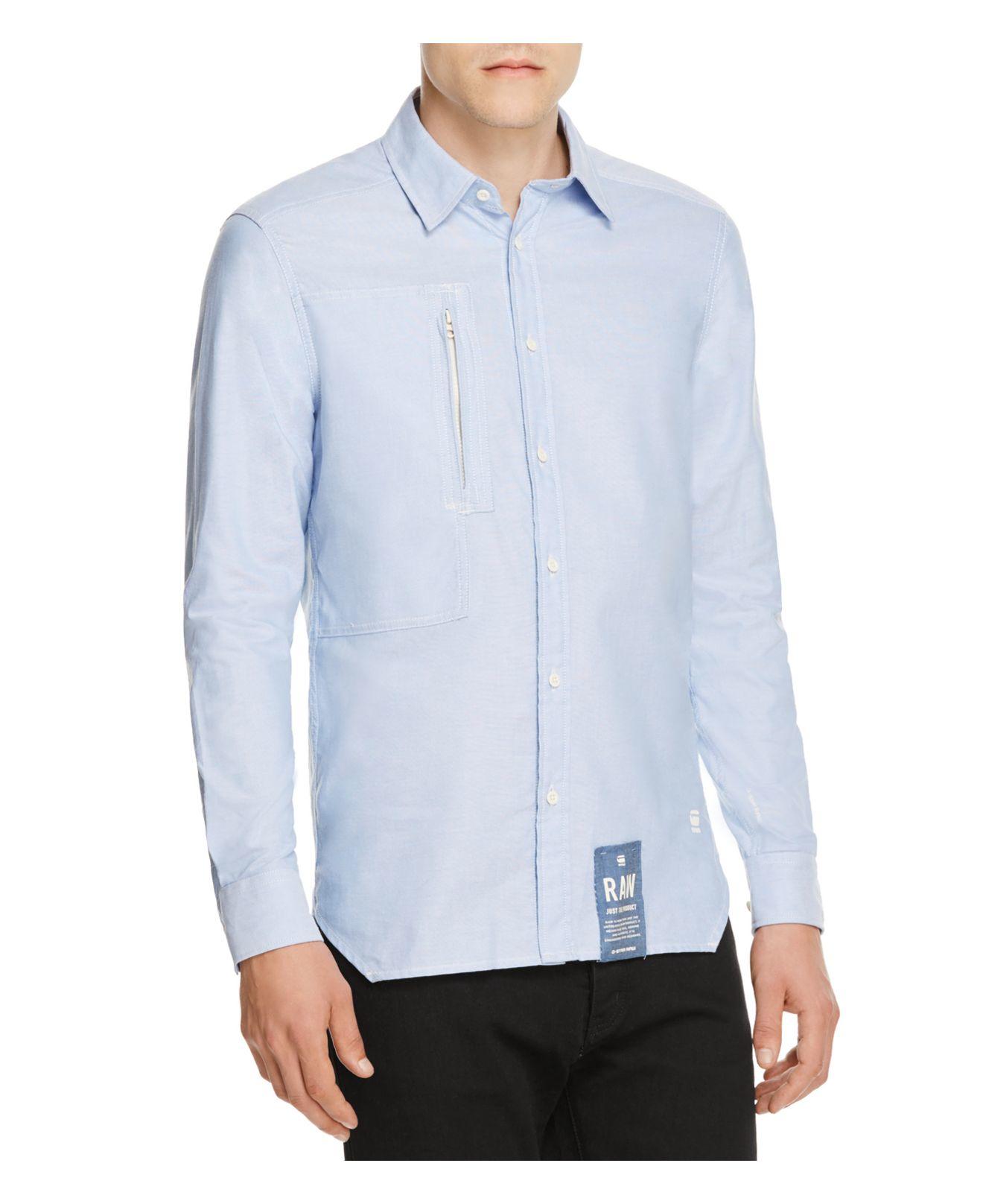 G Star Raw Raw Powel Slim Fit Button Down Shirt In Blue