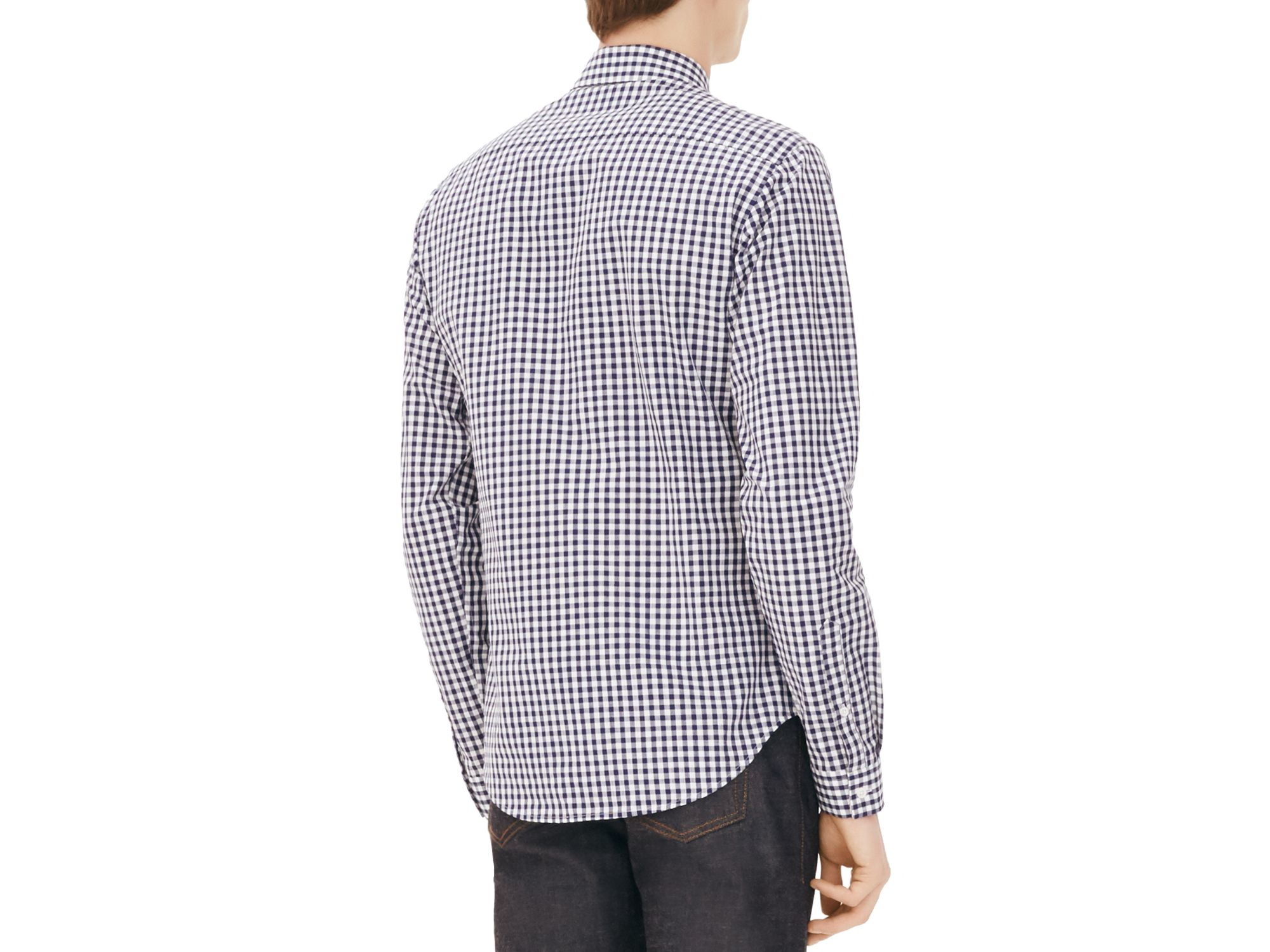 Sandro Vichy Gingham Classic Fit Button Down Shirt In Blue