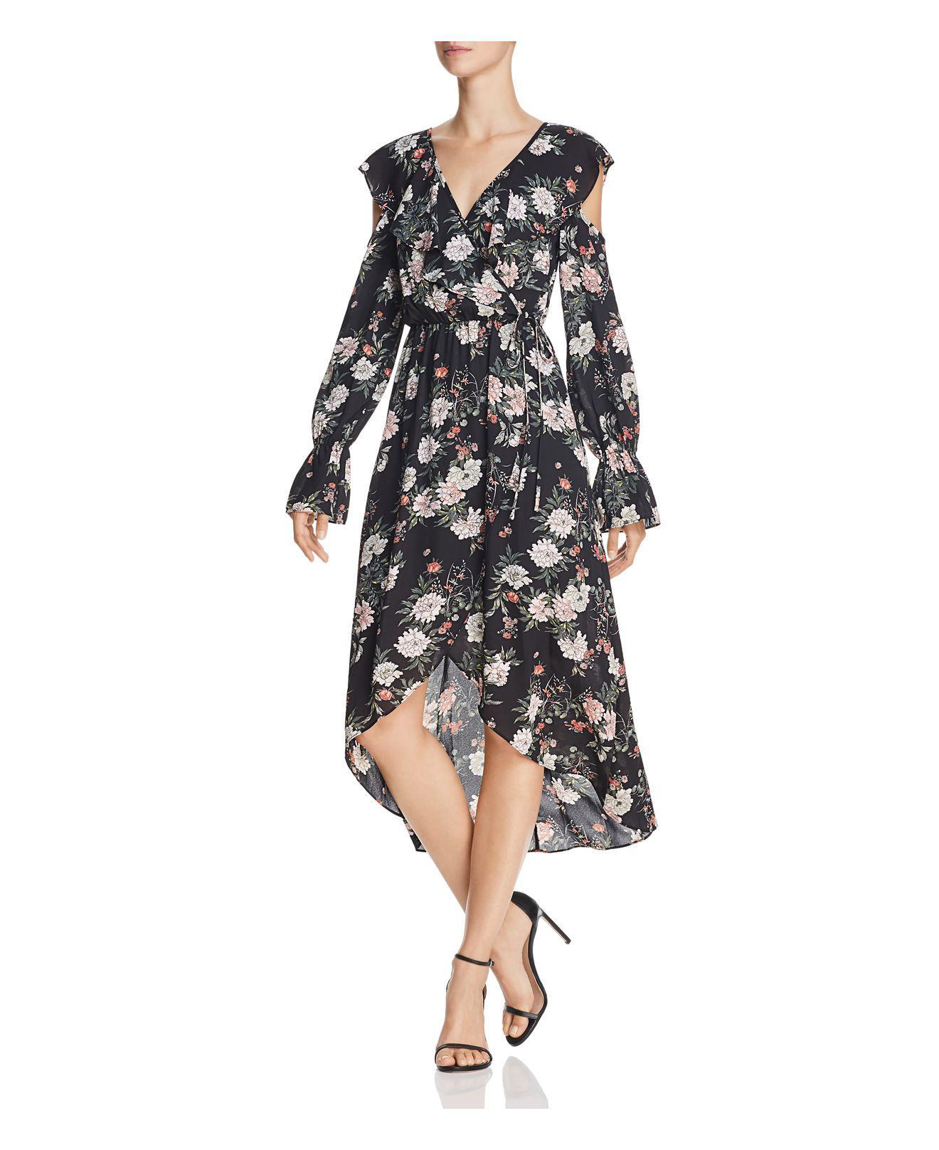 Lyst Aqua Cold Shoulder Faux Wrap Dress In Black
