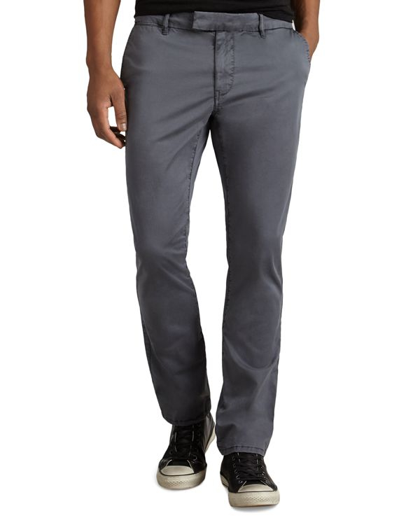 John varvatos Stretch Cotton Slim Fit Pants in Gray for ...
