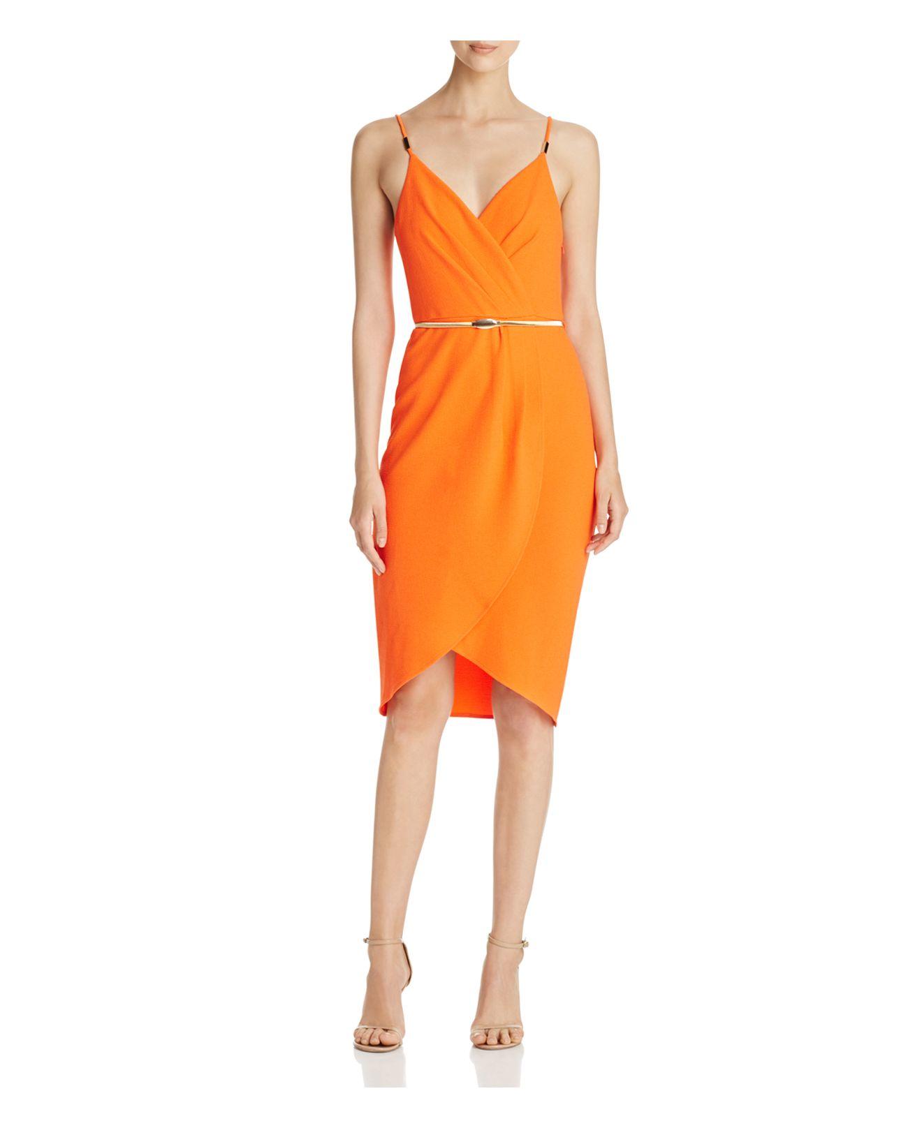 Aqua Wrap Detail Cocktail Dress in Orange