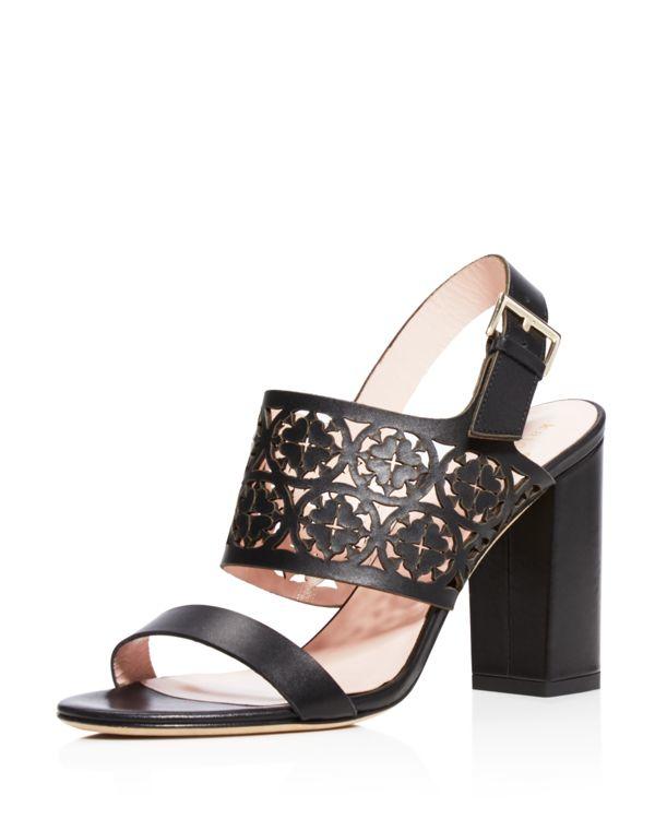 7cbf7fed0d36 Lyst - Kate Spade Imani Cutout Block Heel Sandals in Black