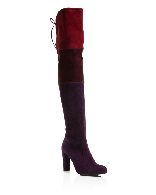 Stuart weitzman purple troika color block over the knee high heel