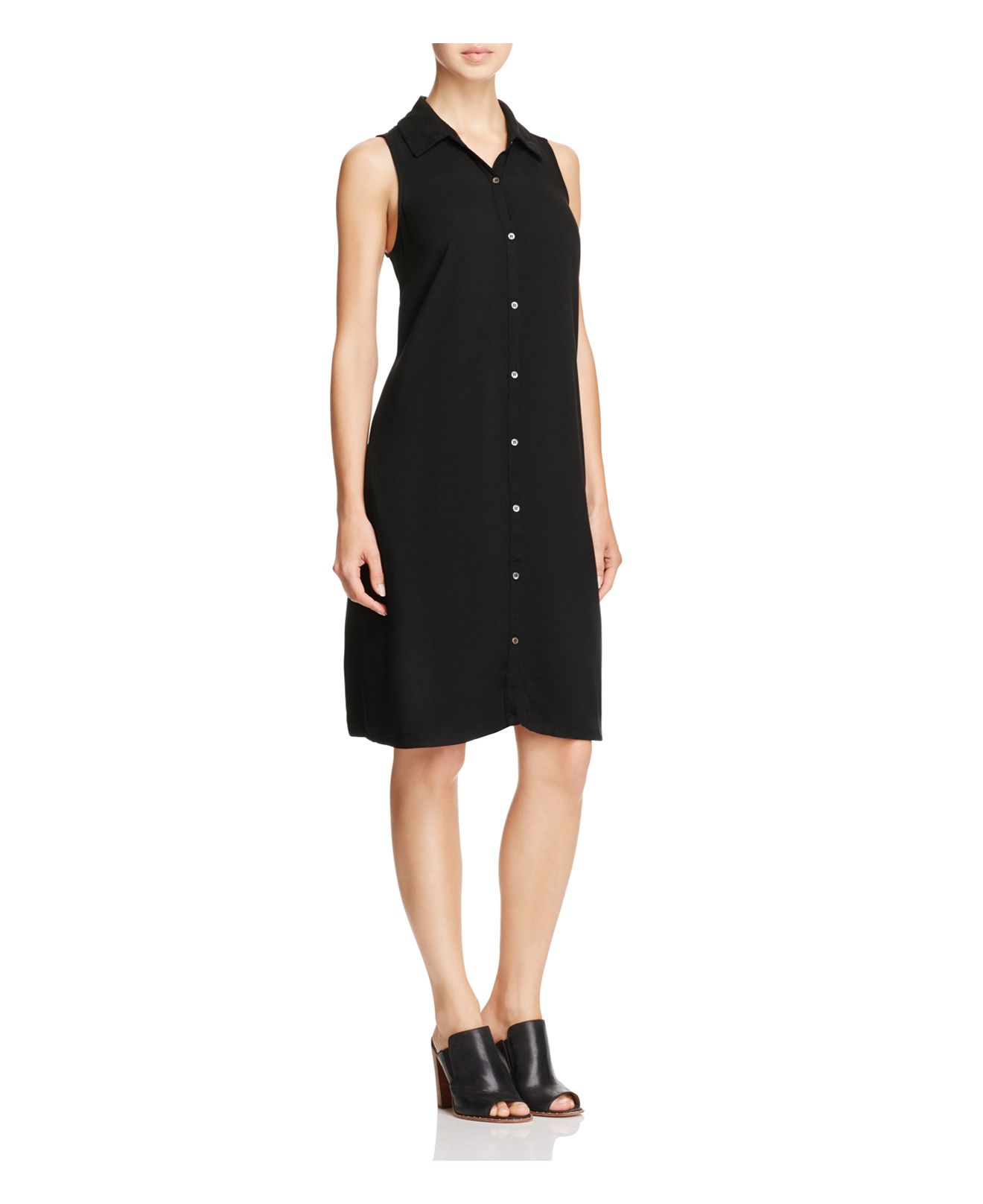 Lyst - Three dots Sleeveless Shirt Dress in Black