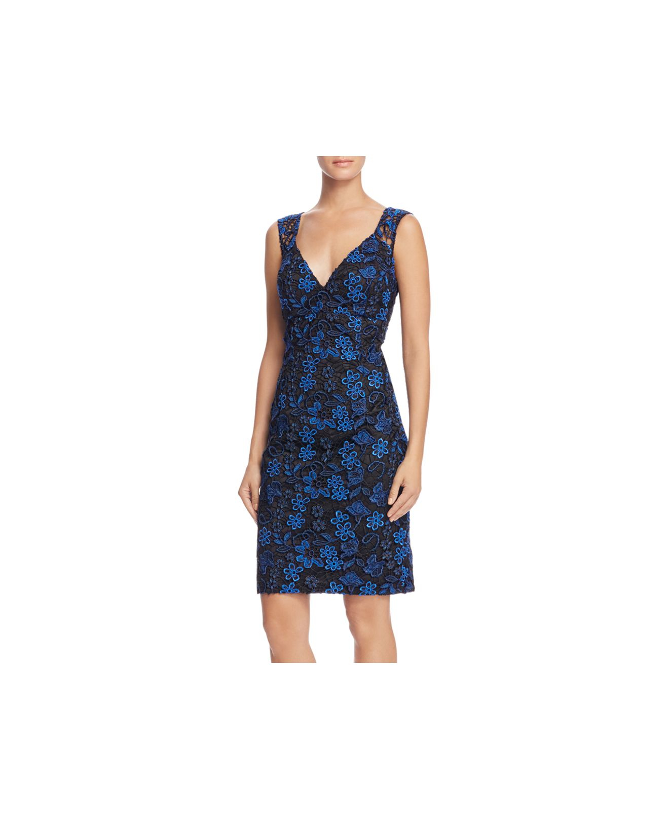 Lyst aidan mattox embroidered lace dress in blue