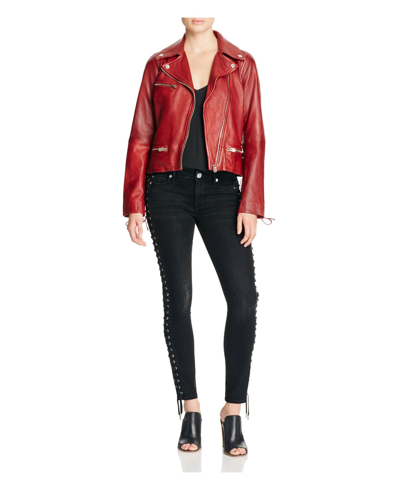 Lyst True Religion Leather Moto Jacket In Red