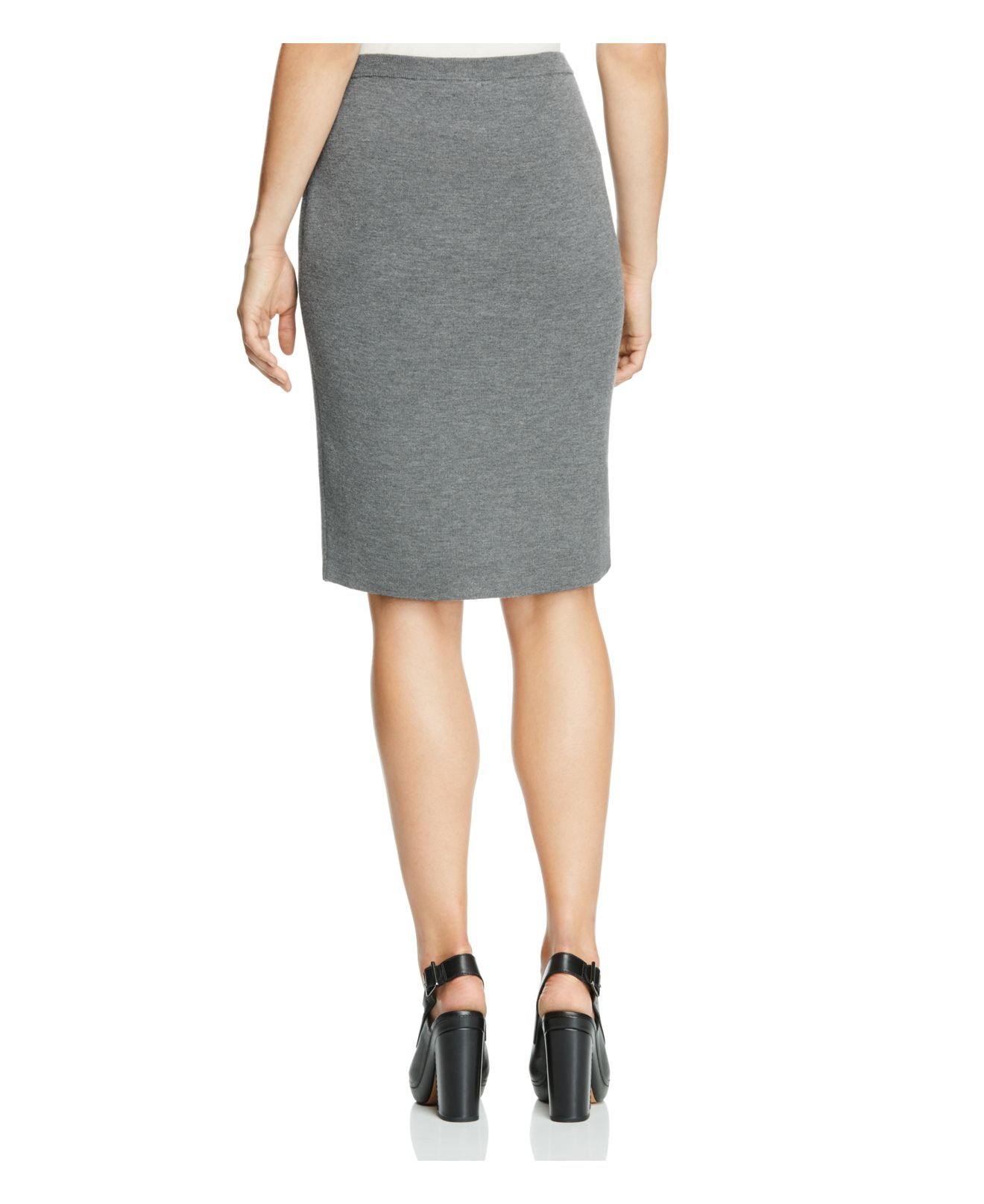eileen fisher wool knit pencil skirt in gray lyst