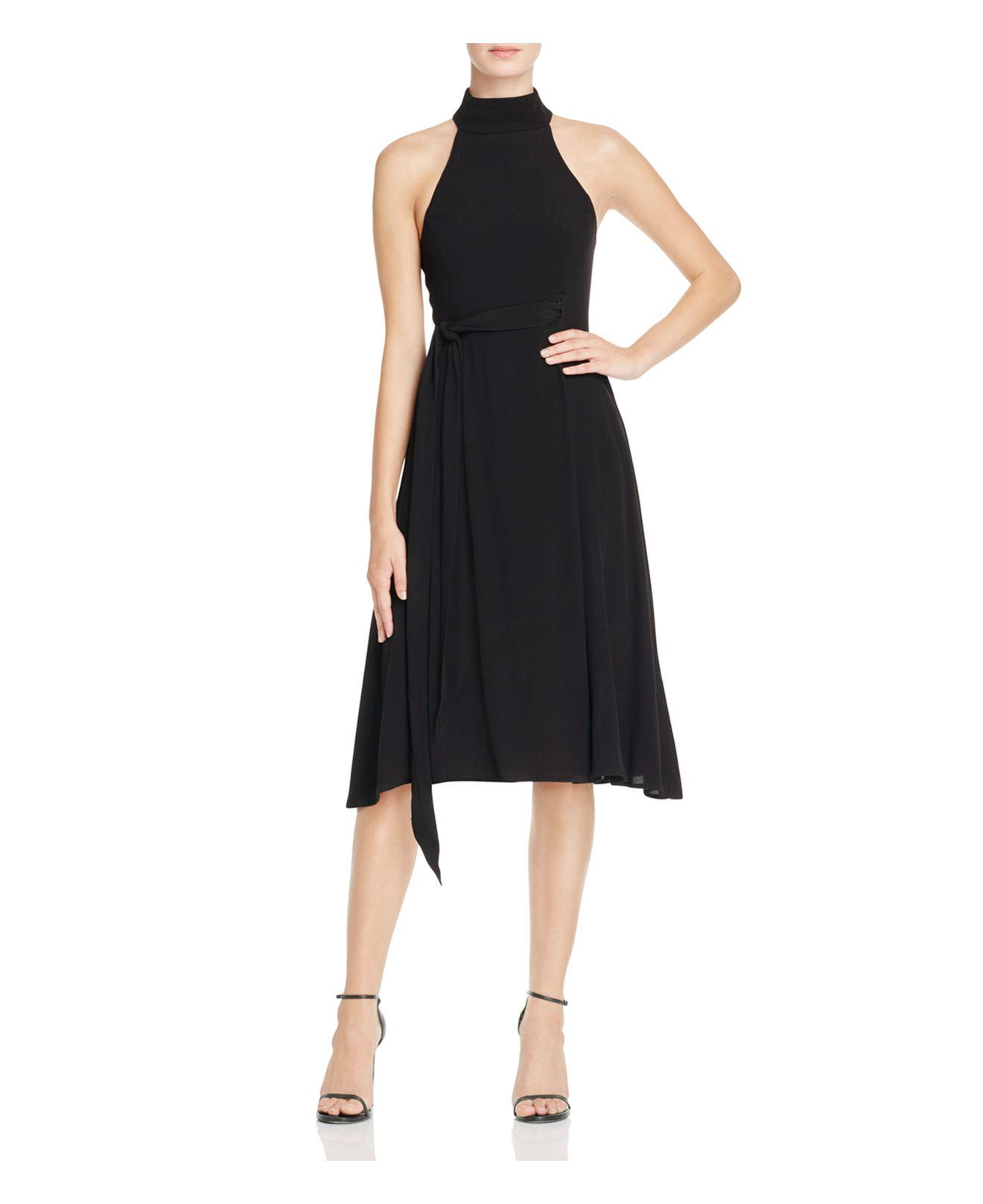 Elliatt Cubism Tie Belt Midi Dress In Black