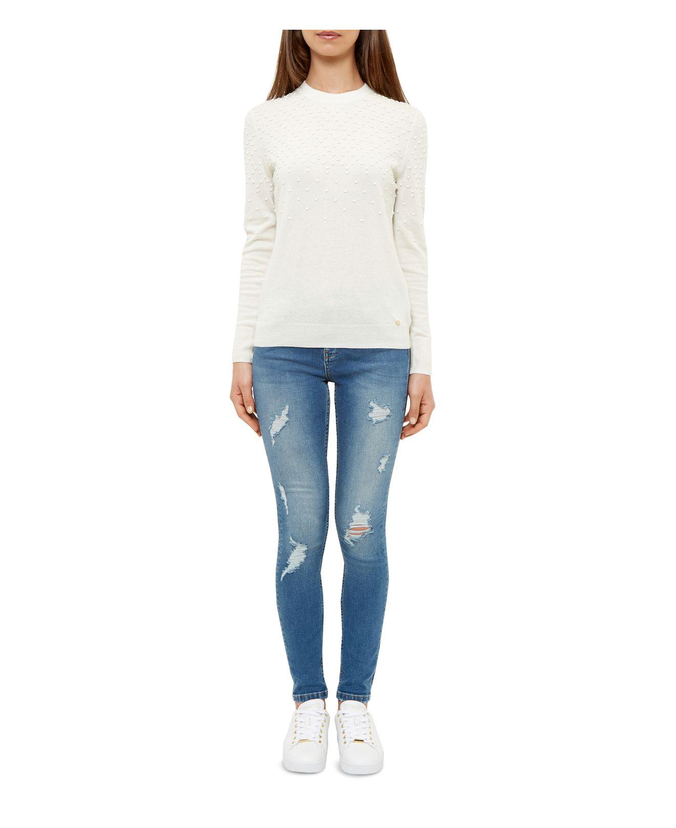 4f5048134a364 Lyst - Ted Baker Kimle Ripped Skinny Jeans In Mid Blue in Blue