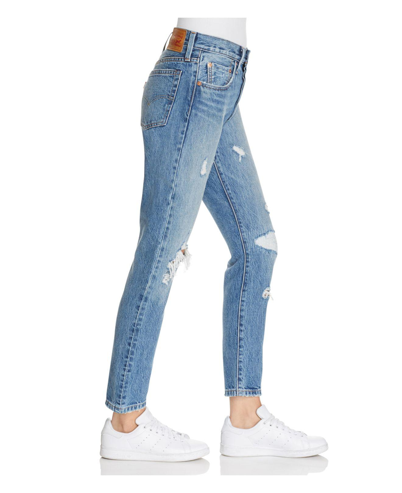 lyst levi 39 s 501 selvedge skinny jeans in pacific ocean blues in blue. Black Bedroom Furniture Sets. Home Design Ideas