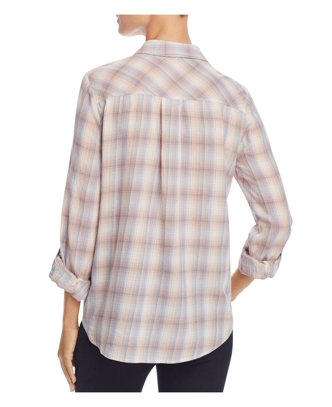 Lyst joie jerrie plaid button down shirt in gray for Grey plaid shirt womens