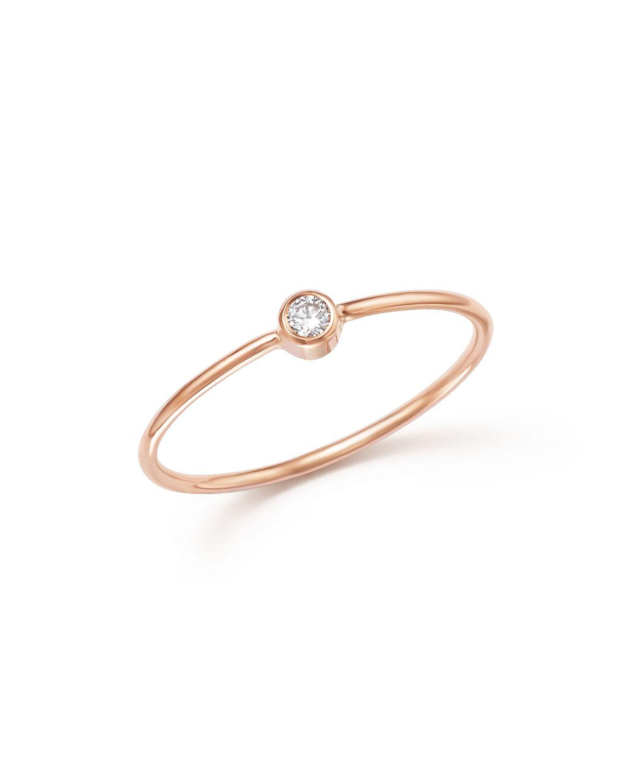 zoe chicco 14k gold bezel thin band ring in