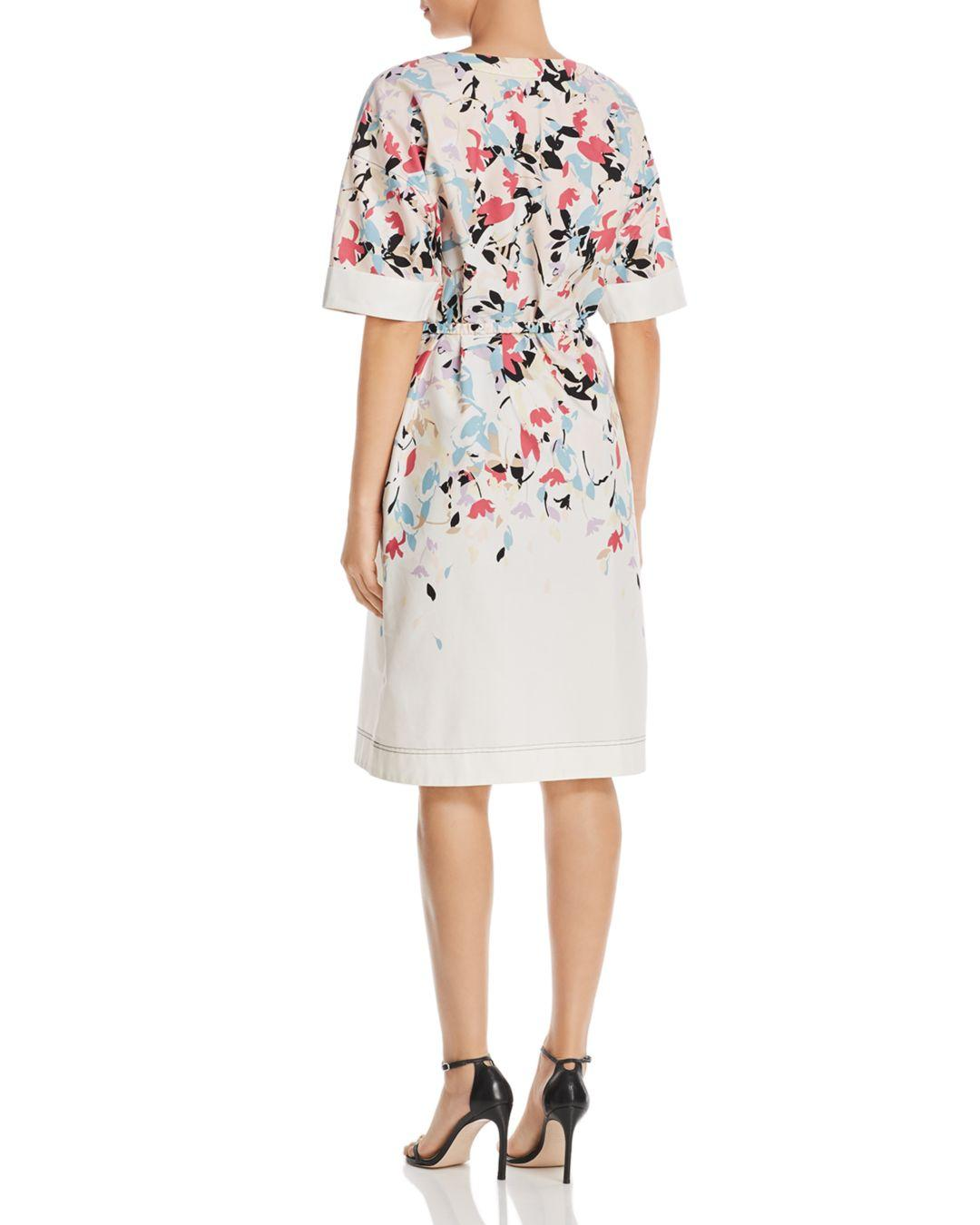 81c7258a440 Lyst - DKNY Donna Karan New York Belted Floral-printed Button-front Dress  in White