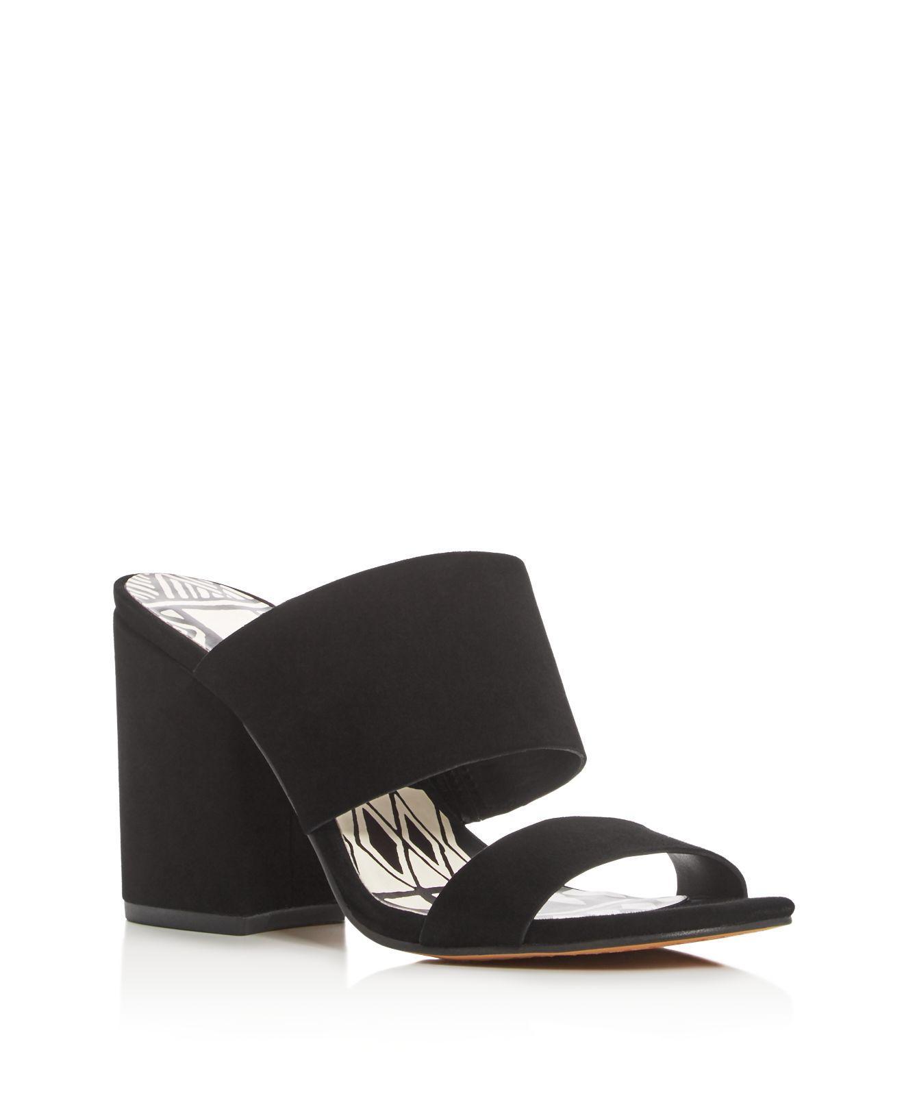 lyst dolce vita two band block heel slide sandals in black. Black Bedroom Furniture Sets. Home Design Ideas