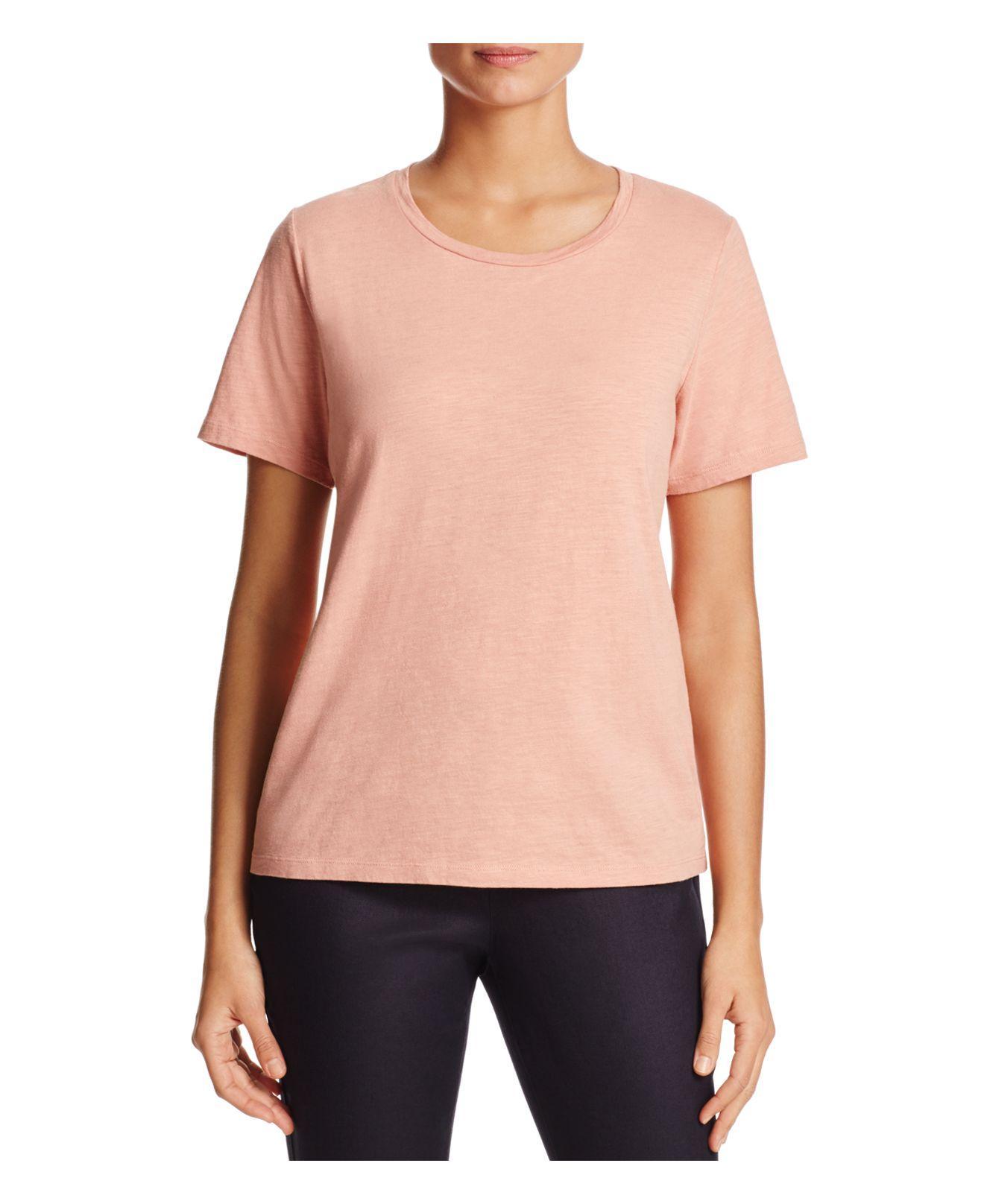 Lyst eileen fisher organic cotton heathered tee in pink for Eileen fisher organic cotton t shirt