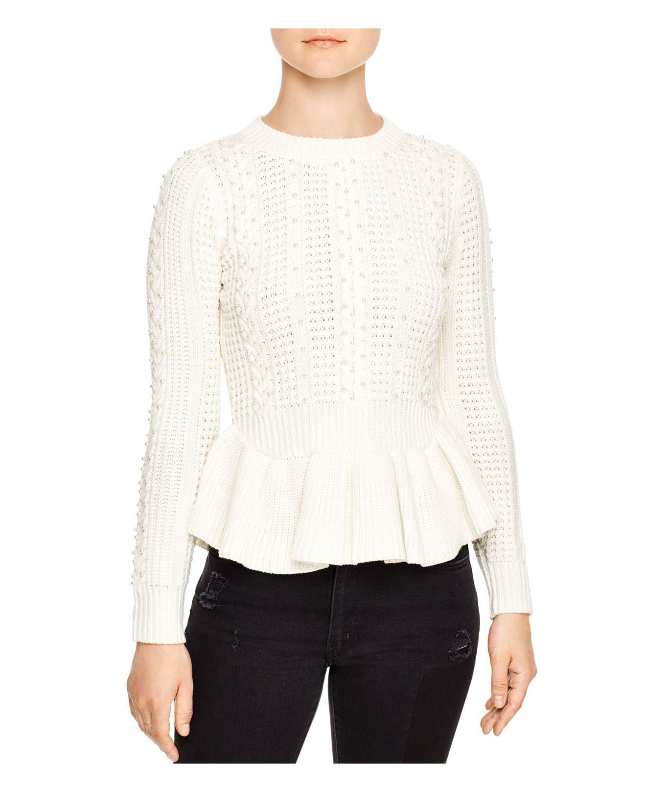 Sandro Rickie Beaded Sweater in White | Lyst