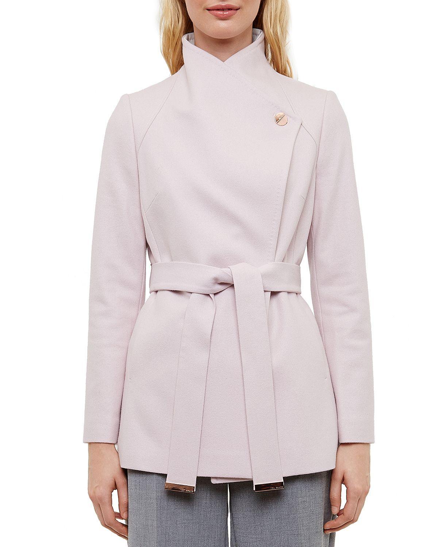 d34795487cf6d0 Lyst - Ted Baker Elika Contrast Lapel Short Wrap Coat in Pink