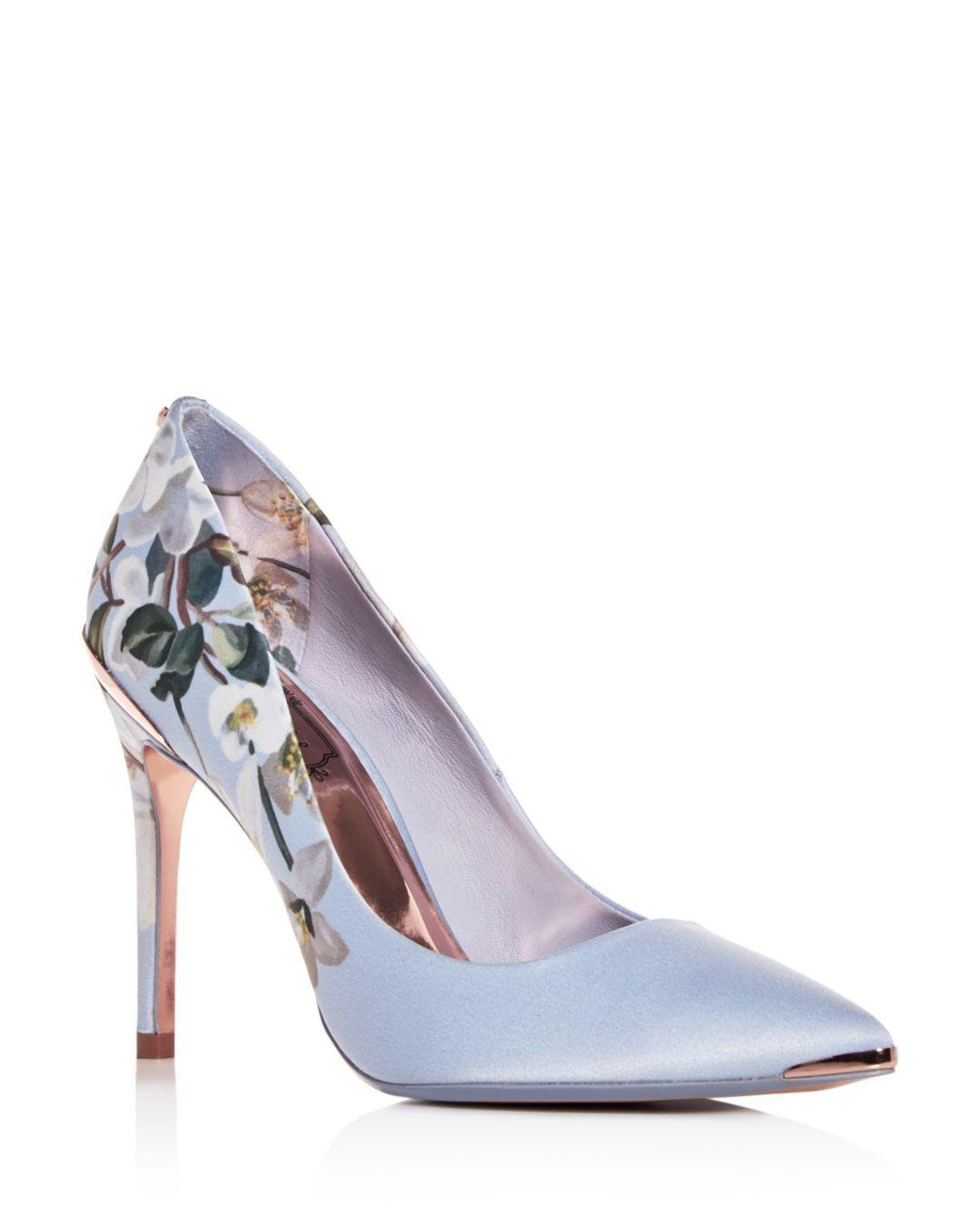 3f2636e38df31 Lyst - Ted Baker Women s Izbelip Floral Pointed-toe Pumps in Blue