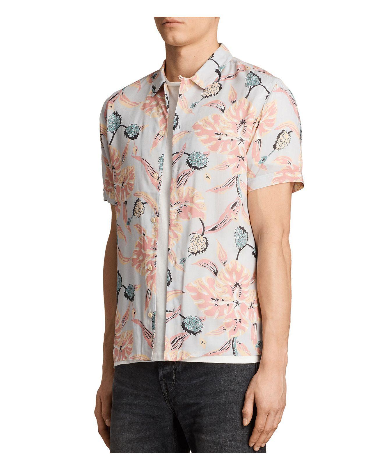 Lyst allsaints pipeline slim fit button down shirt in for Slim button down shirt