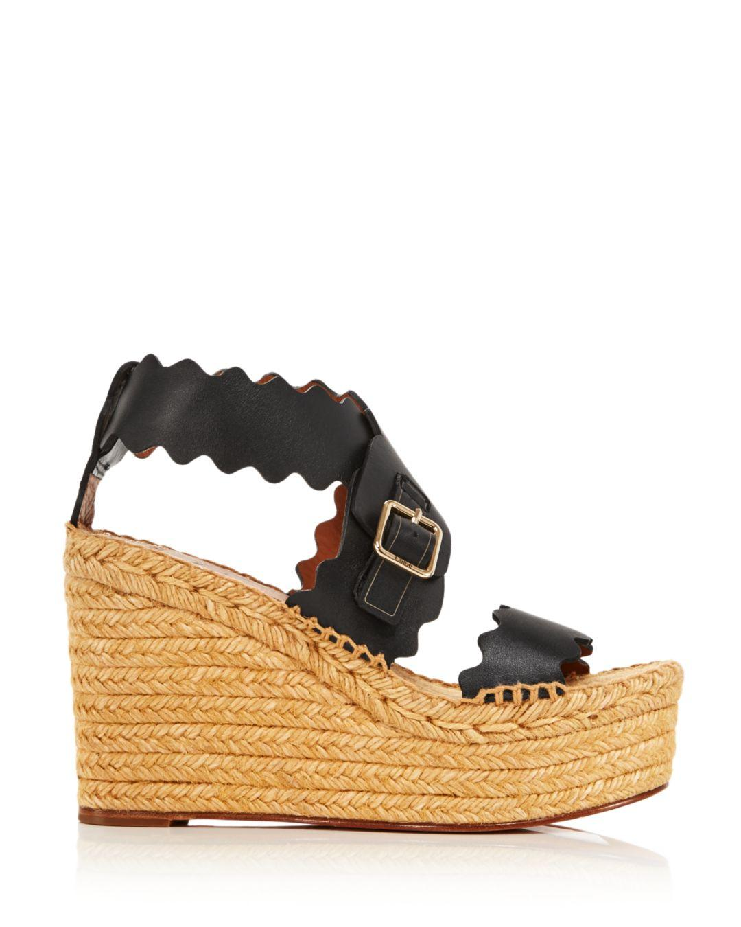 64a4bc85a1ea Chloé Women s Lauren Espadrille Wedge Sandals in Black - Lyst