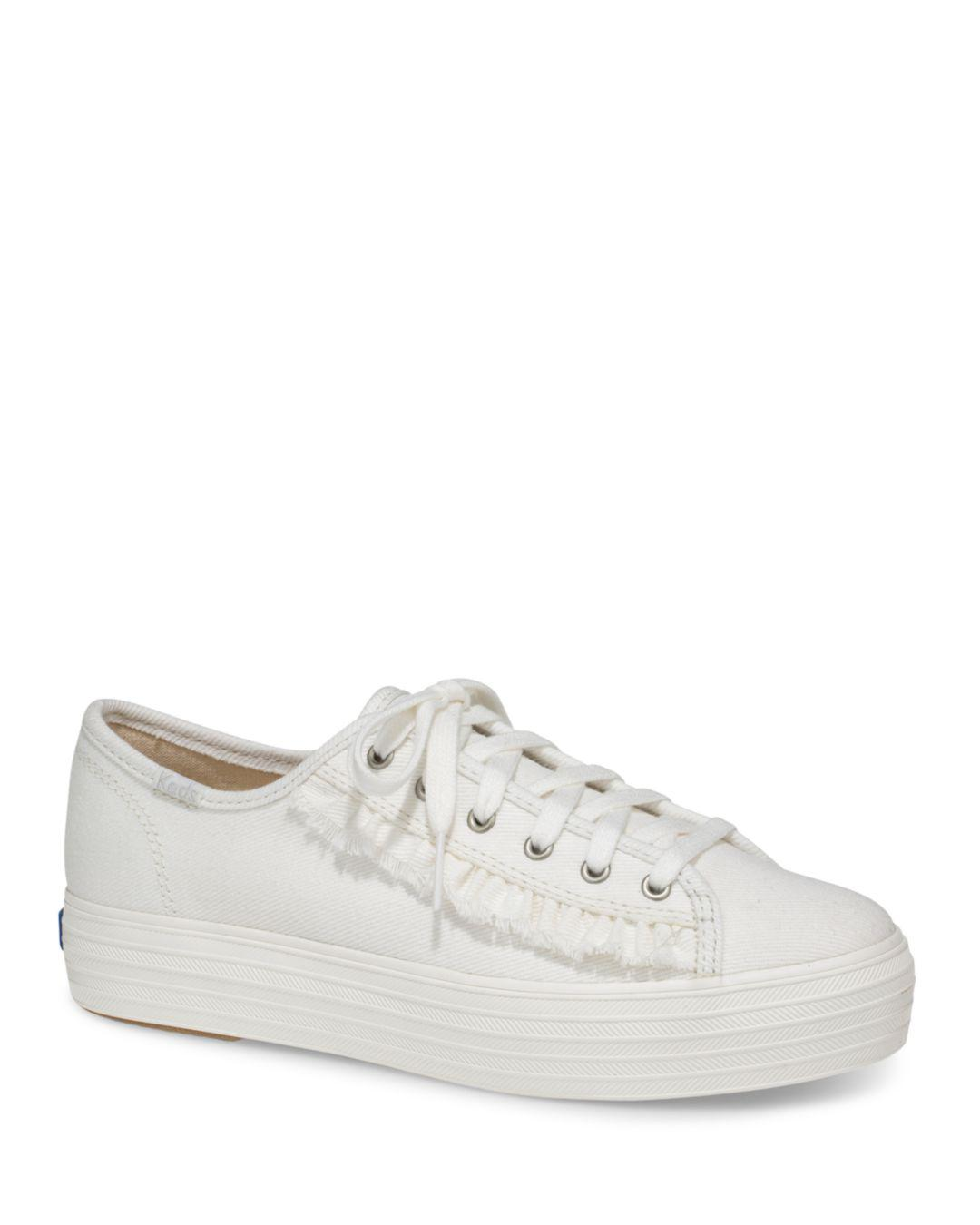 30d714a483a Keds Women s Ruffle Triple Kick Canvas Lace Up Sneakers in White - Lyst