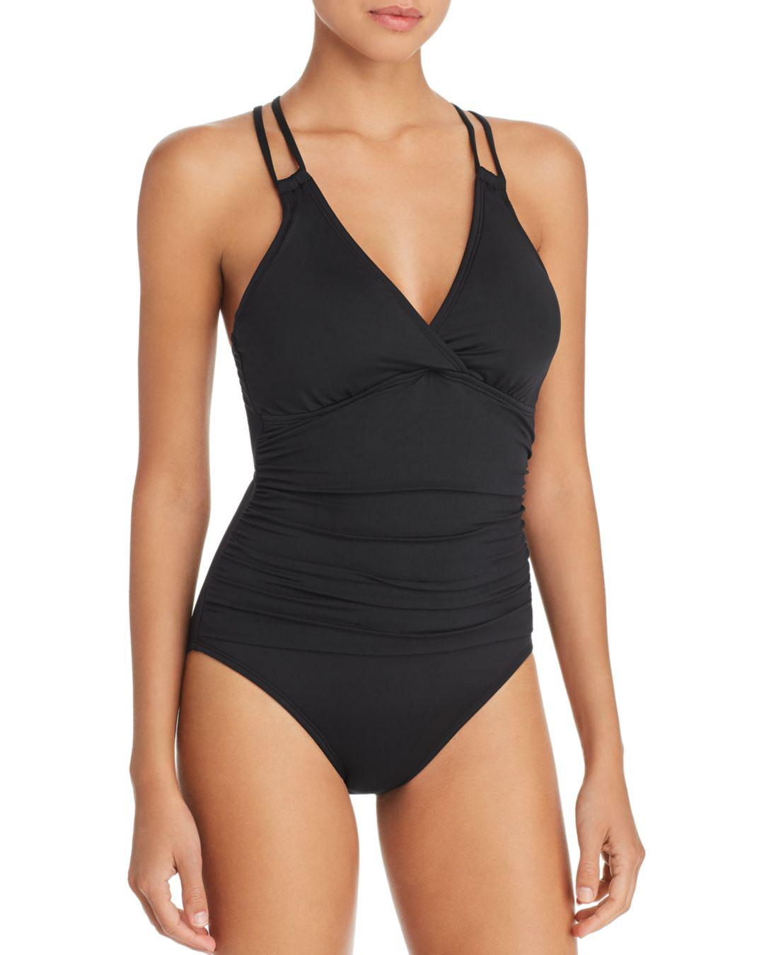 3fda4ff5115 La Blanca. Women's Black Island Goddess Underwire Tummy Control Cross-back  One-piece Swimsuit