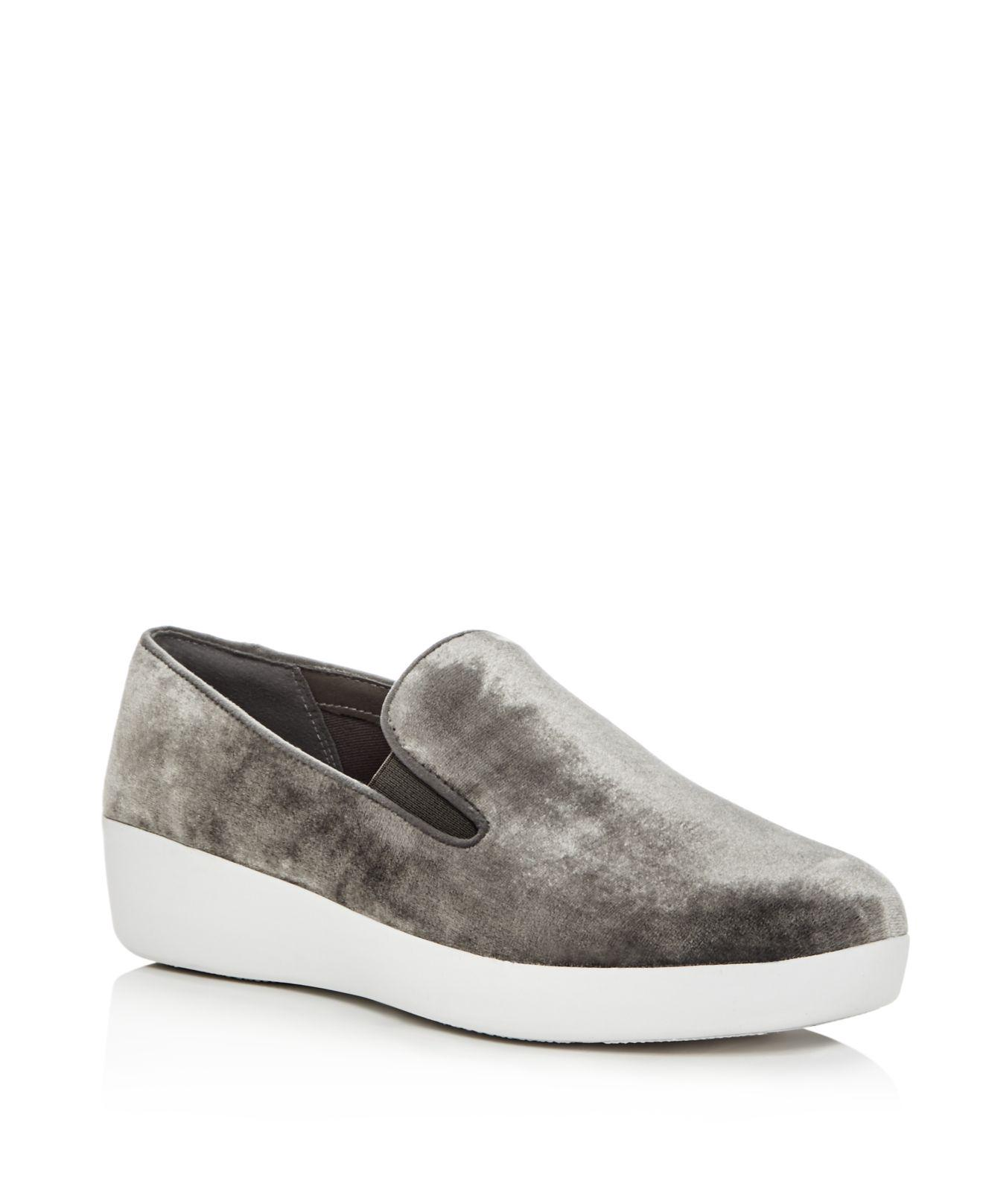3163c8116502 Lyst - Fitflop Women s Superskate Velvet Slip-on Sneakers in Metallic