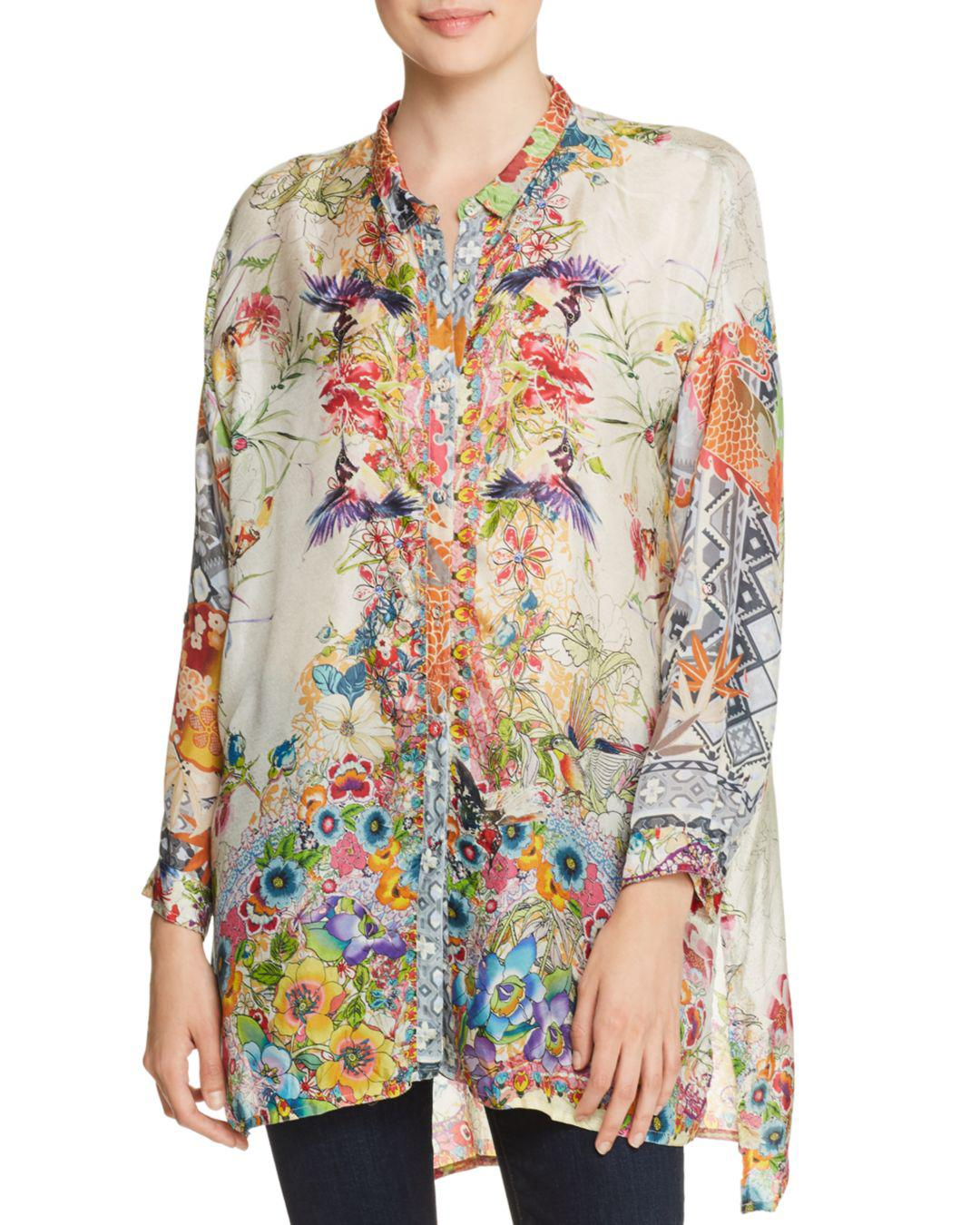 e6ae074c9743f5 Johnny Was Leilani Printed Silk Blouse - Lyst