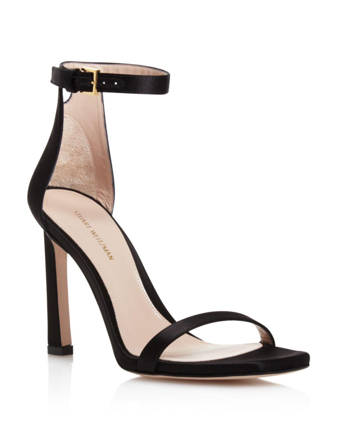 3ef0ef49687a Stuart Weitzman Women s 100fringesquarenudist Satin Embellished High-heel  Ankle Strap Sandals in Black - Lyst
