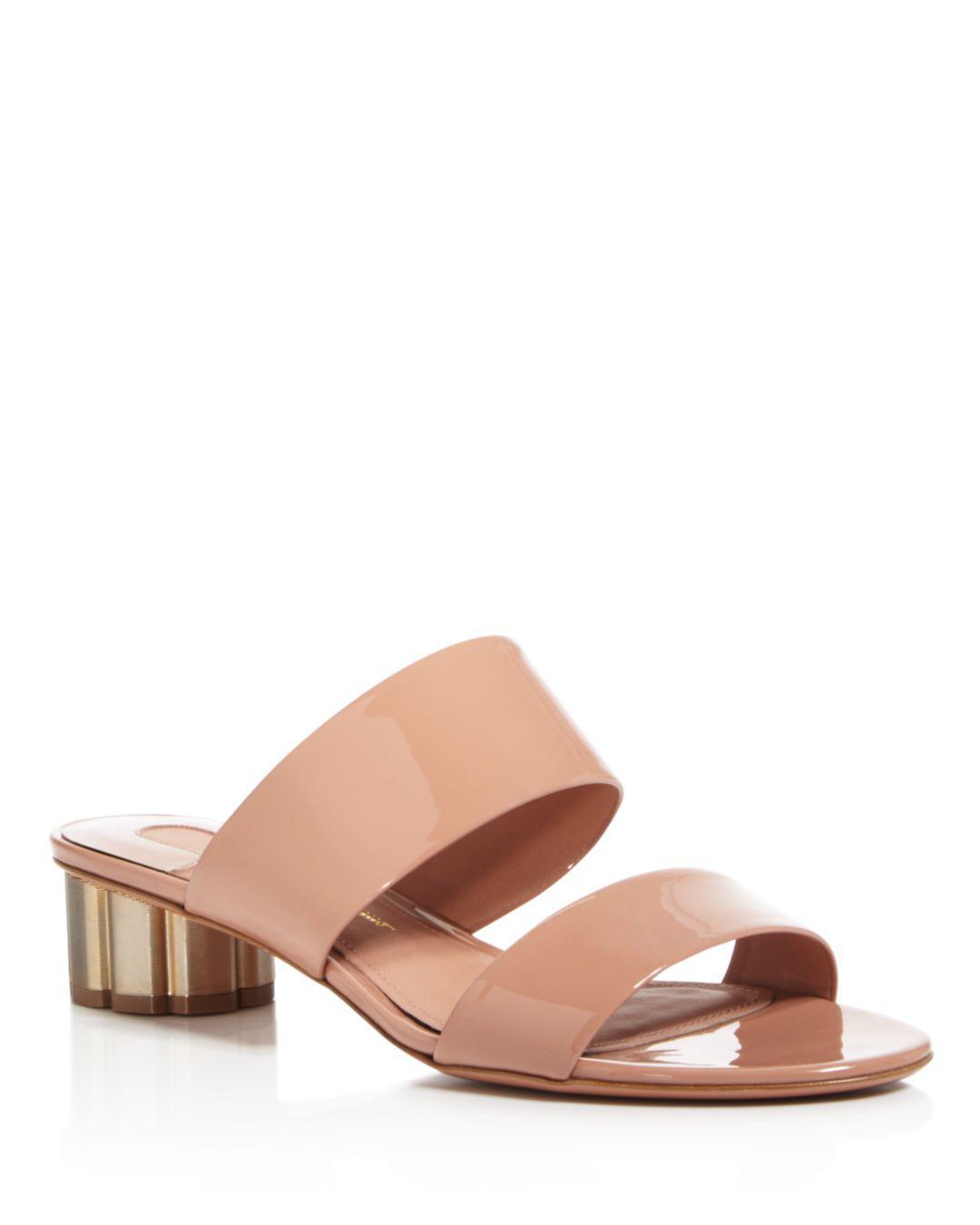 a7c12a9b62f6 Ferragamo. Women s Pink Belluno Patent Leather Slide Sandals