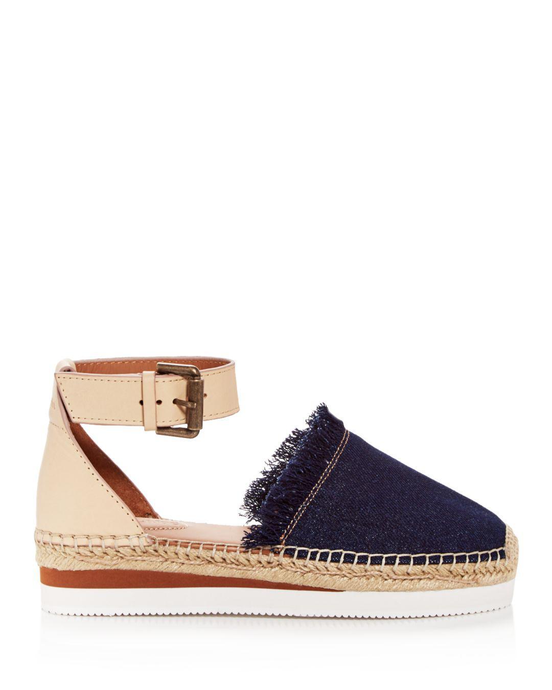 234ddb942 See By Chloé Women's Leather & Denim Fringe Platform Sandals in Blue - Save  60.90909090909091% - Lyst
