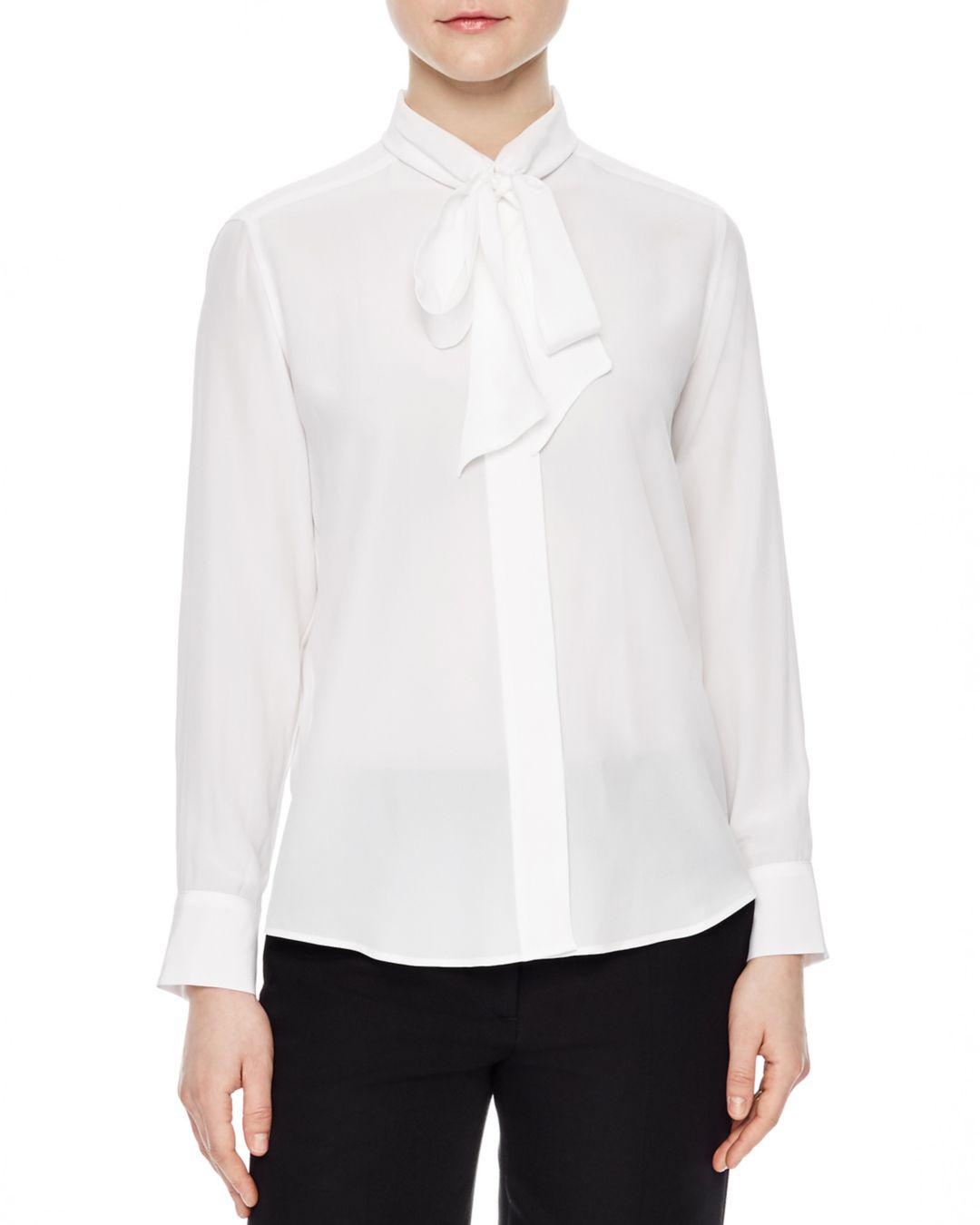 71129df6590c92 Lyst - Sandro Caline Tie-neck Silk Shirt in White