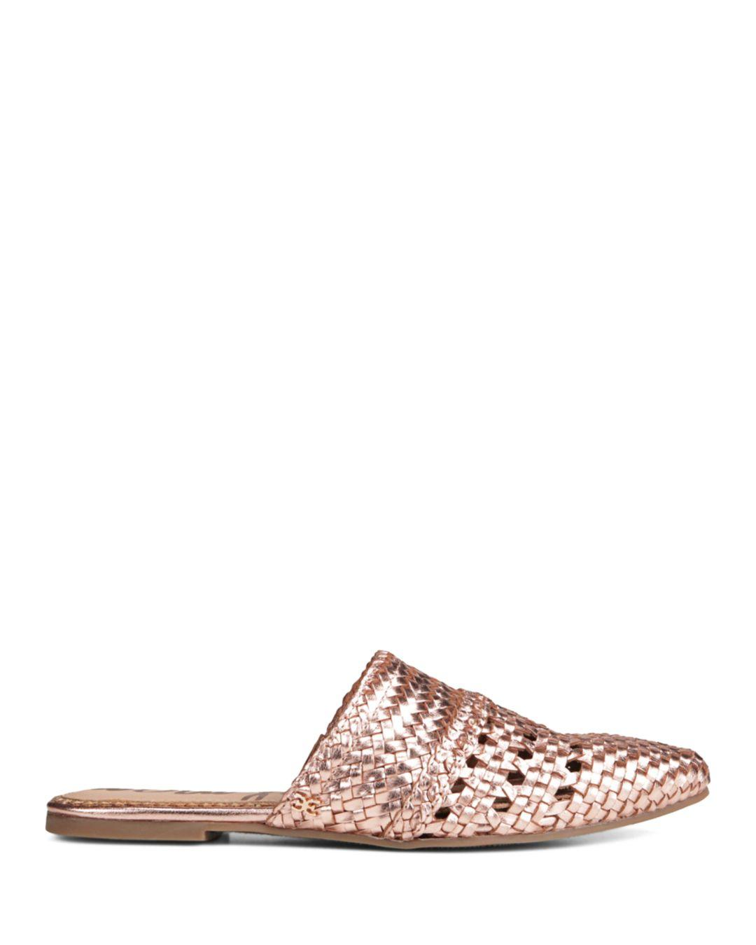 7666dd878 Lyst - Sam Edelman Women s Natalya Woven Leather Mules in Pink