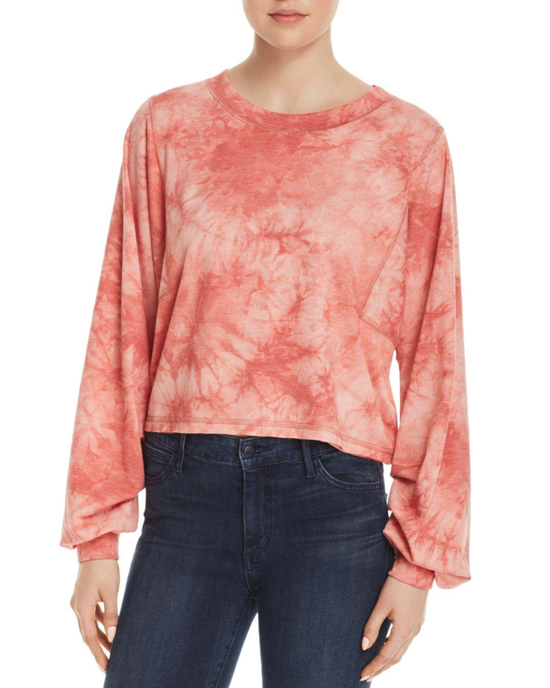 b9eda4c0d8d Lyst - Honey Punch Tie-dye Ruched-sleeve Tee in Red