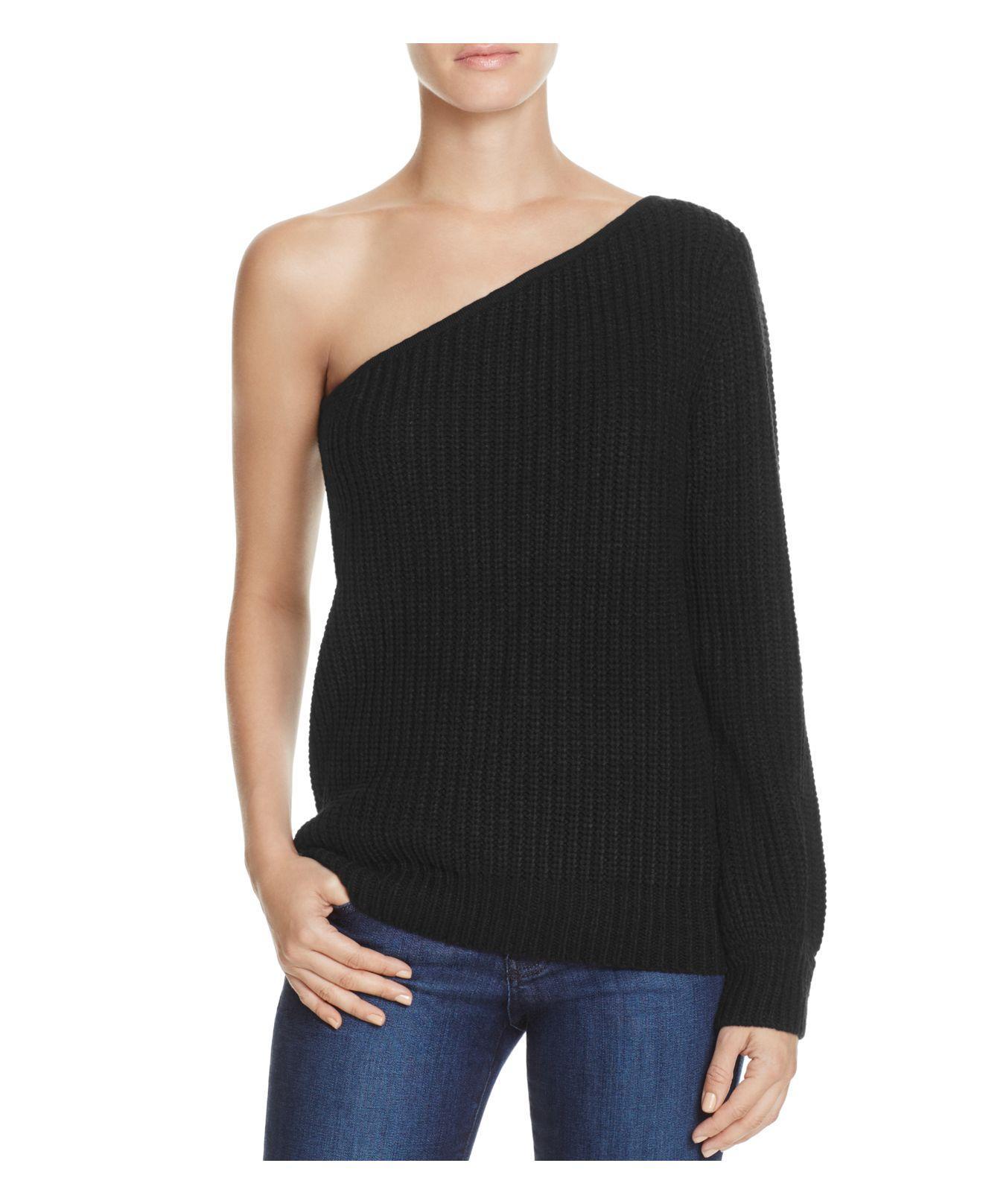 lyst olivaceous one shoulder sweater in black. Black Bedroom Furniture Sets. Home Design Ideas