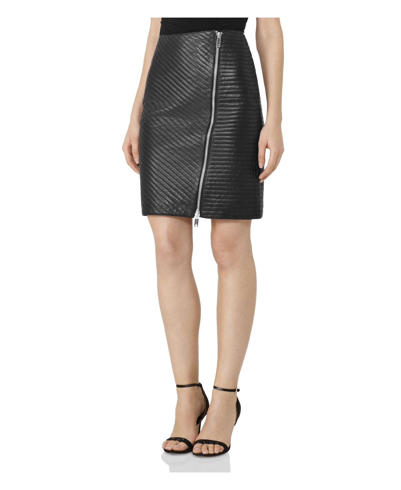 Lyst Reiss Azure Quilted Leather Skirt In Black