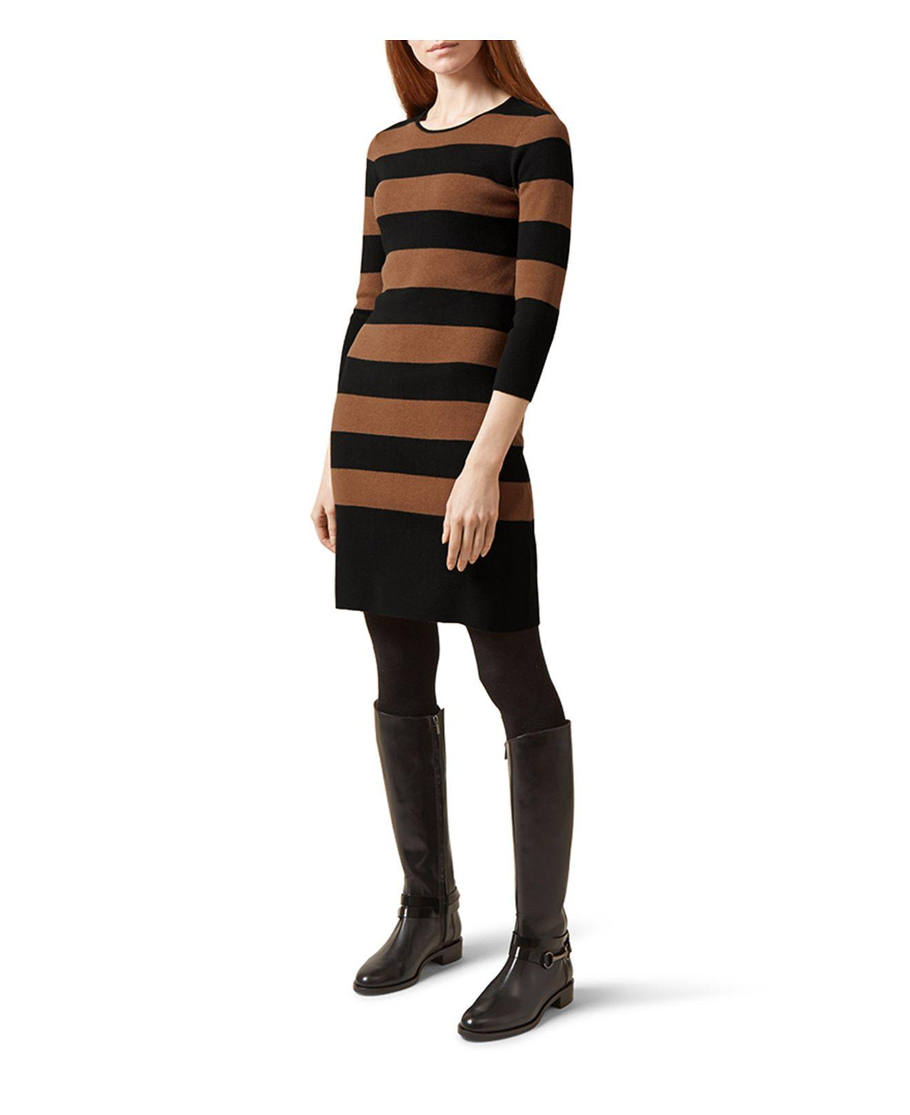 Hobbs Emmy Striped Sweater Dress In Black Lyst