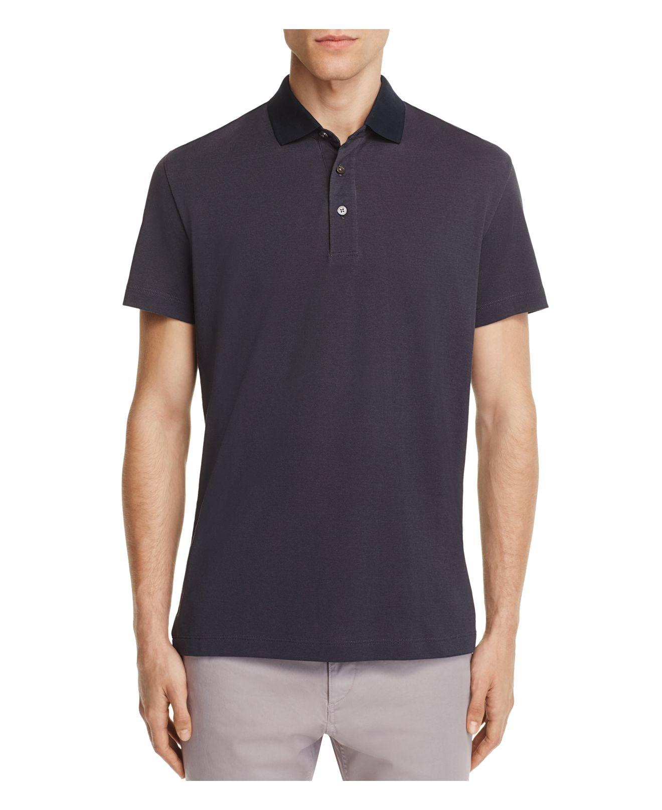 Theory Lukis Contrast Collar Slim Fit Polo Shirt in Blue ...