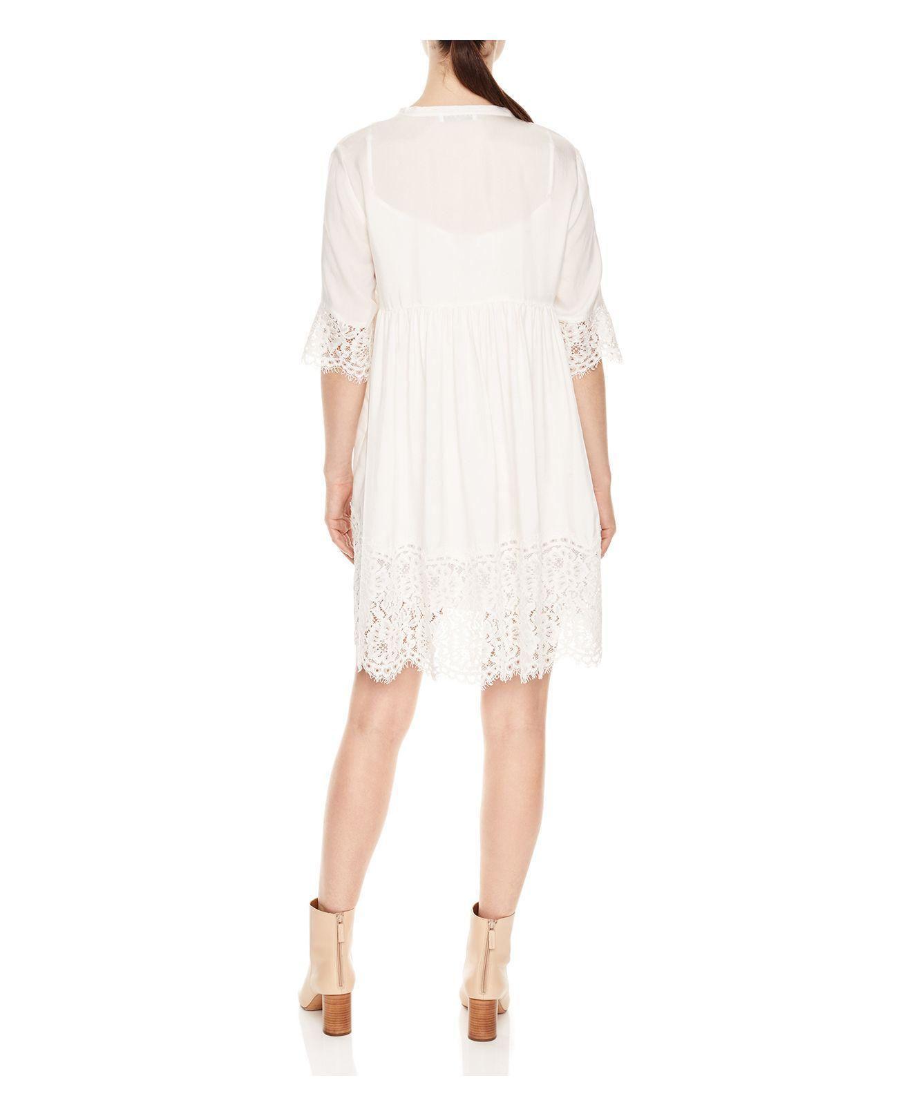 Sandro Rosalie Lace Trim Dress In White Lyst