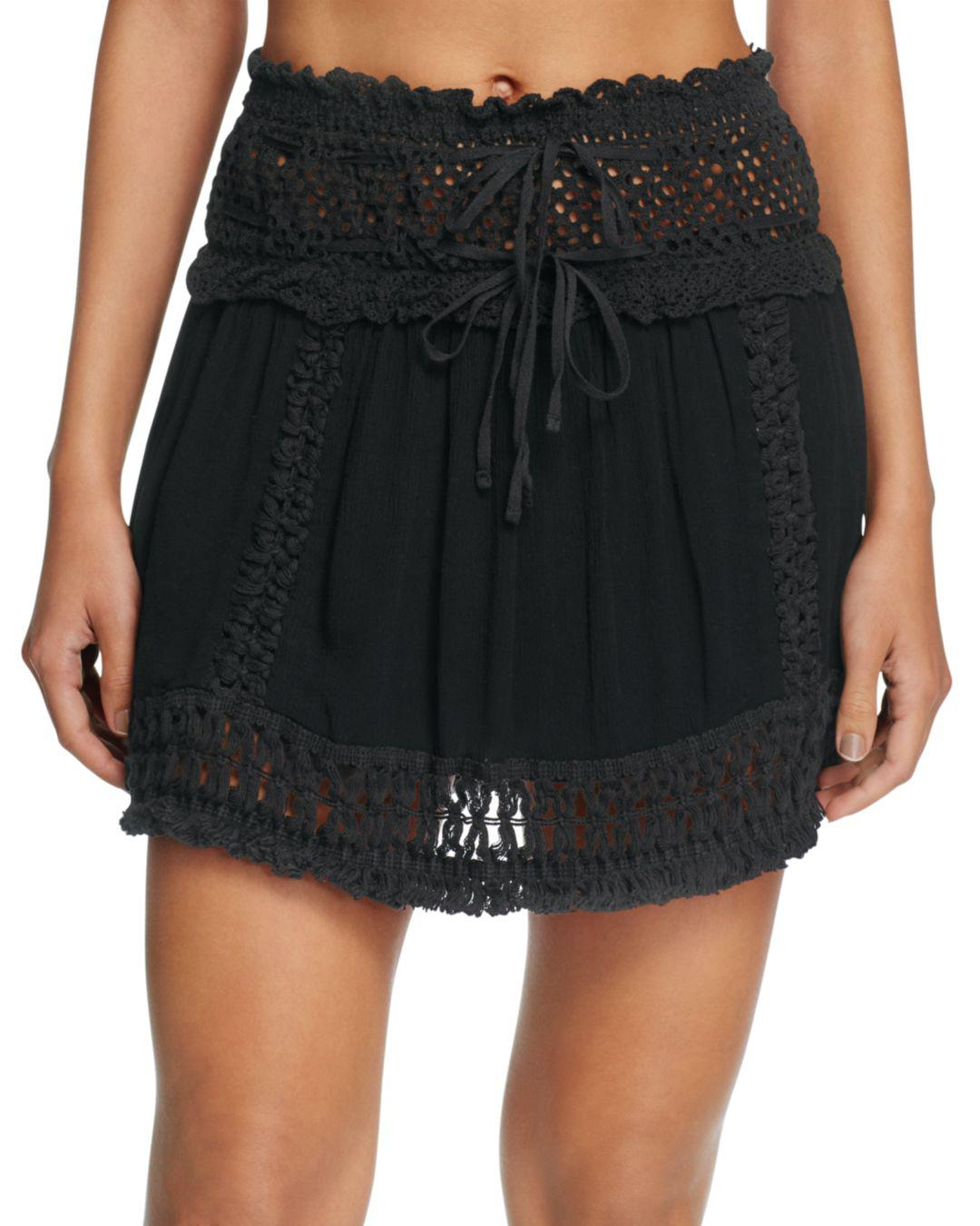 5f965cae82ada Lyst - Surf Gypsy Crochet Fringe Mini Skirt Swim Cover-up in Black