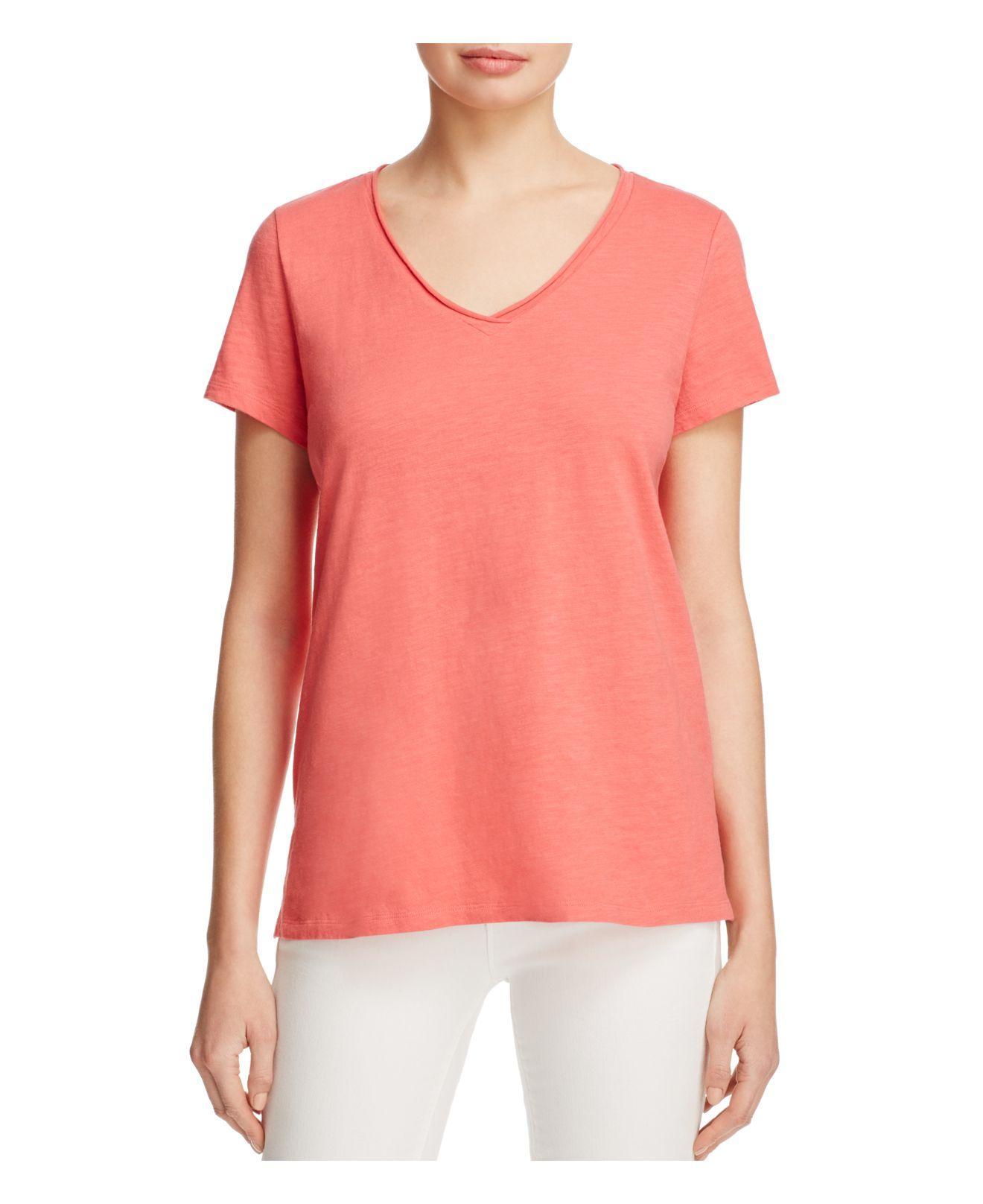 Lyst eileen fisher organic cotton v neck tee in pink for Eileen fisher organic cotton t shirt