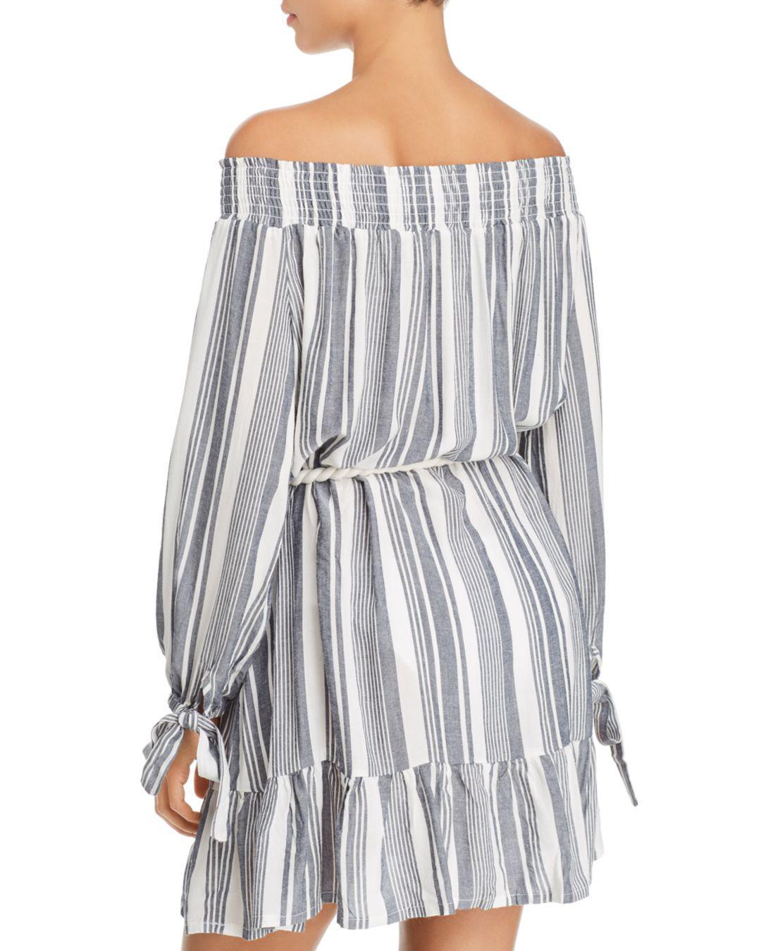 b4cadeb503 Lyst - Surf Gypsy Off-the-shoulder Stripe Dress Swim Cover-up in Blue