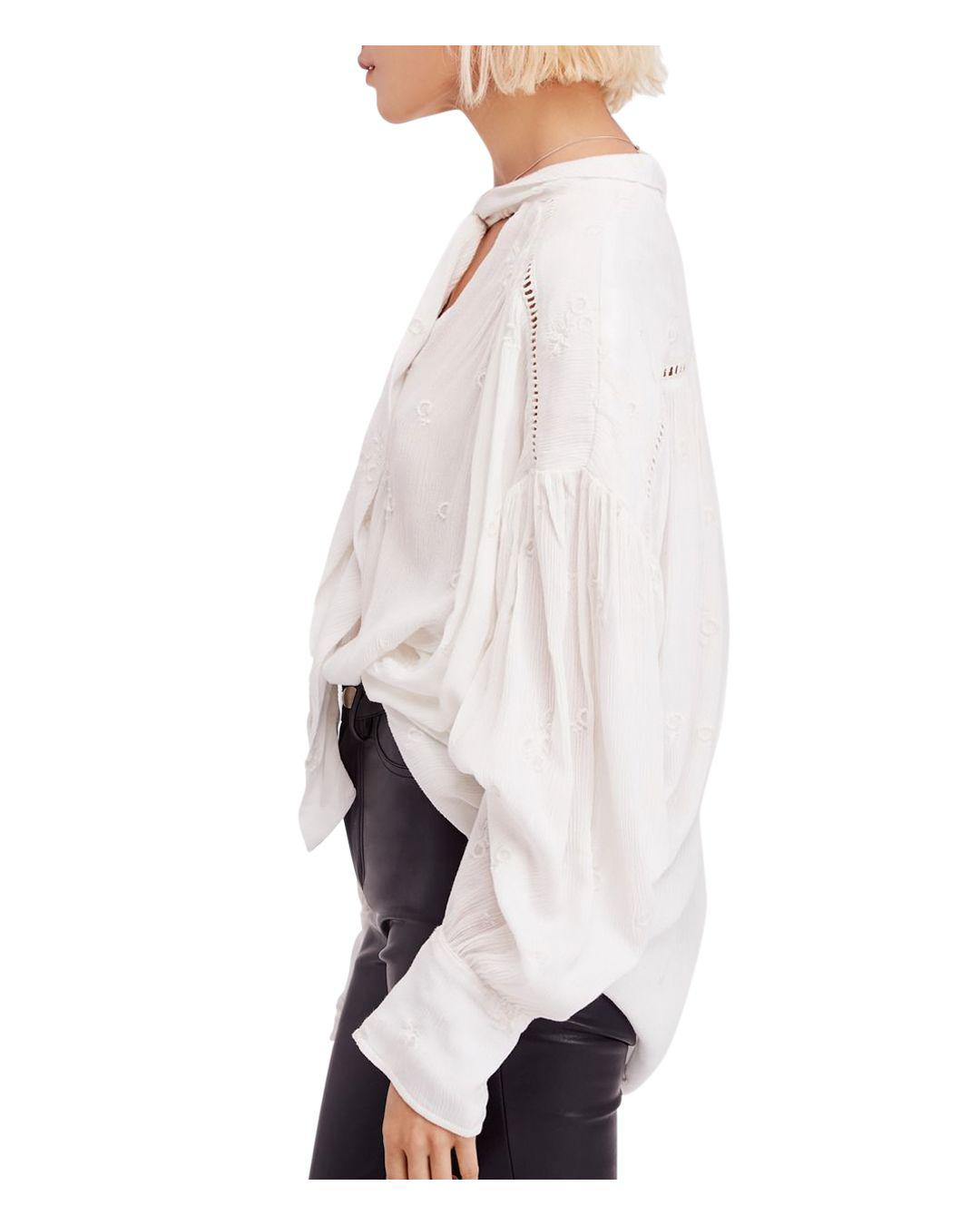 34e9a6077b7779 Free People Wishful Moments Tie-neck Blouse in White - Lyst
