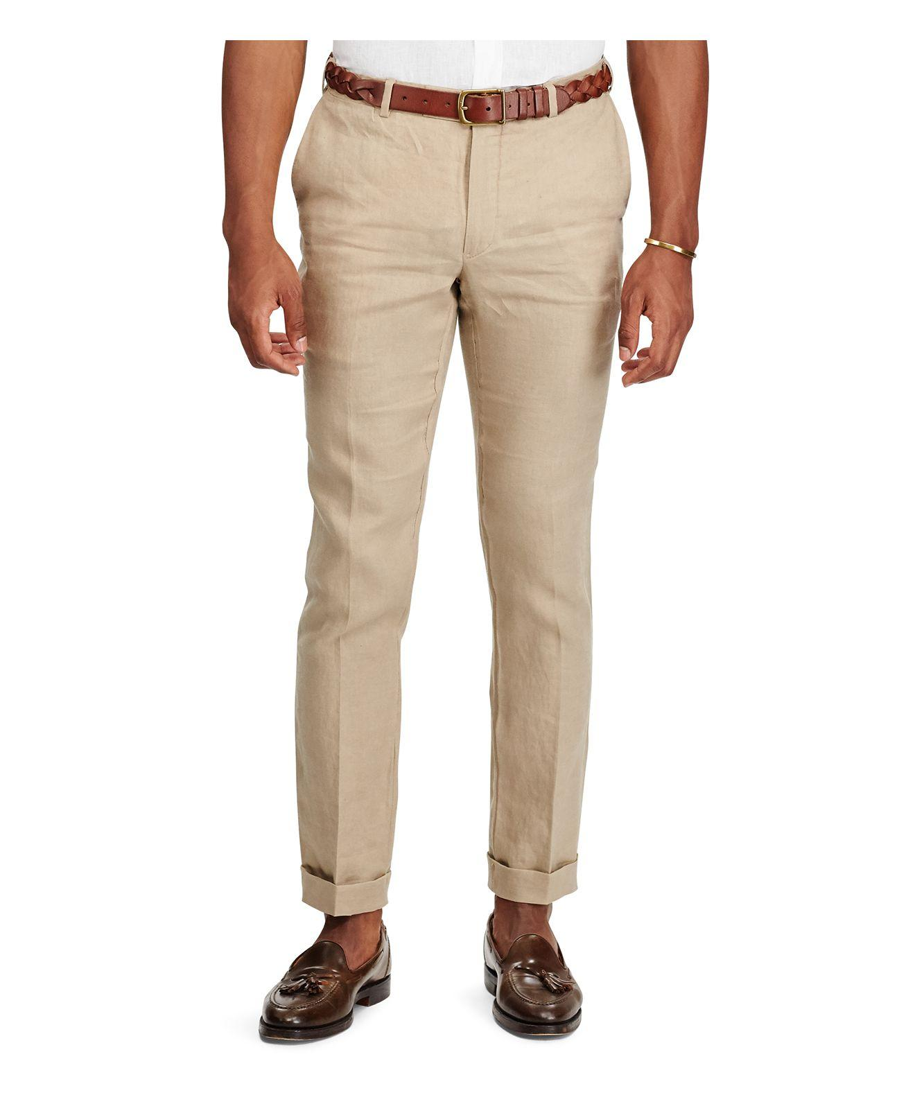 Polo ralph lauren Slim Fit Linen Pants in Natural for Men | Lyst