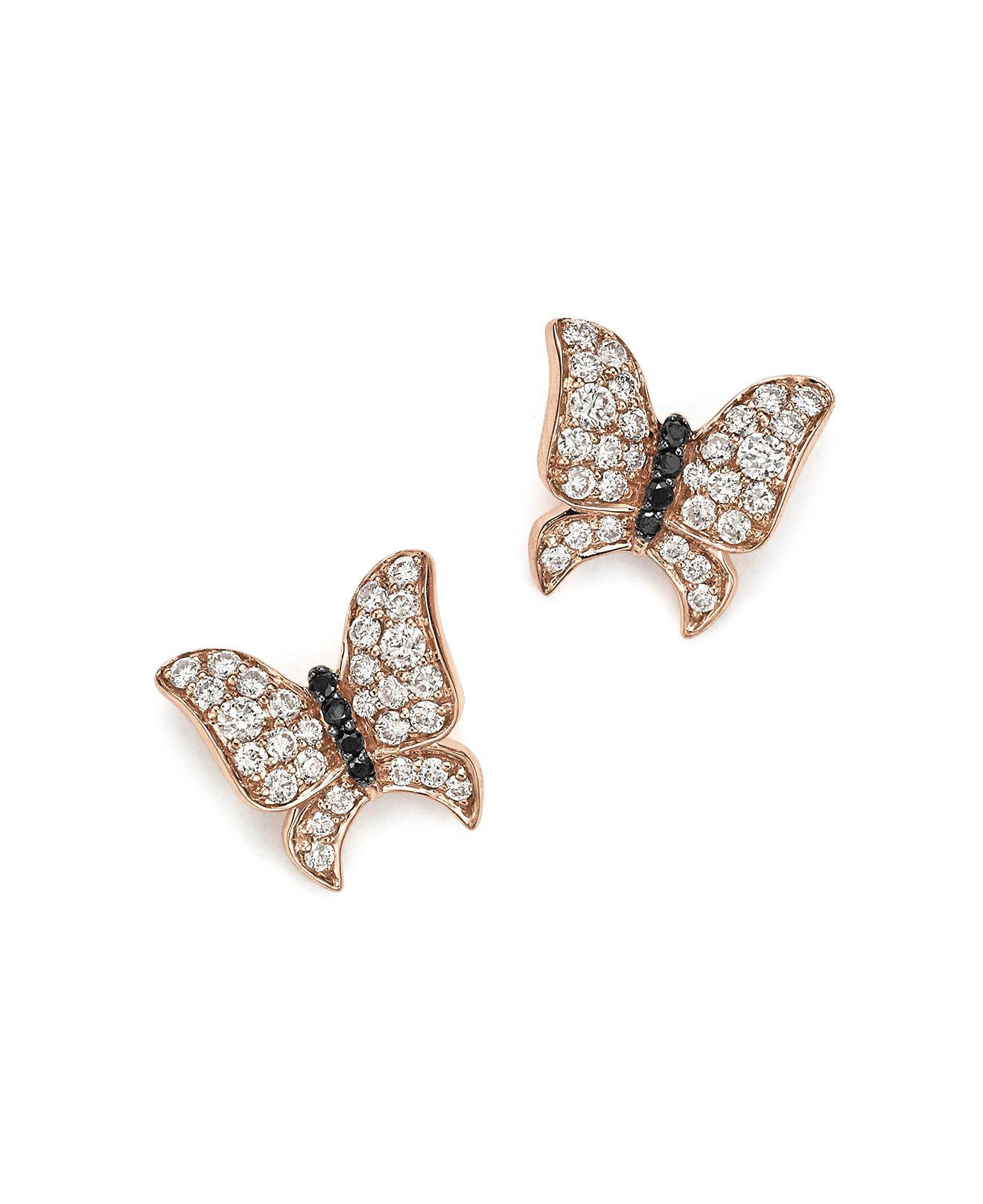 lyst pink gold rose fossil normal goldtone jewelry earrings butterfly crystal in tone gallery product stud