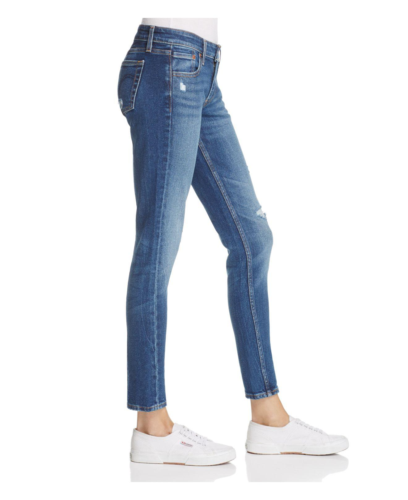 3ef483b31c3 Lyst - Levi s 711® Distressed Skinny Jeans In Mix Tape in Blue