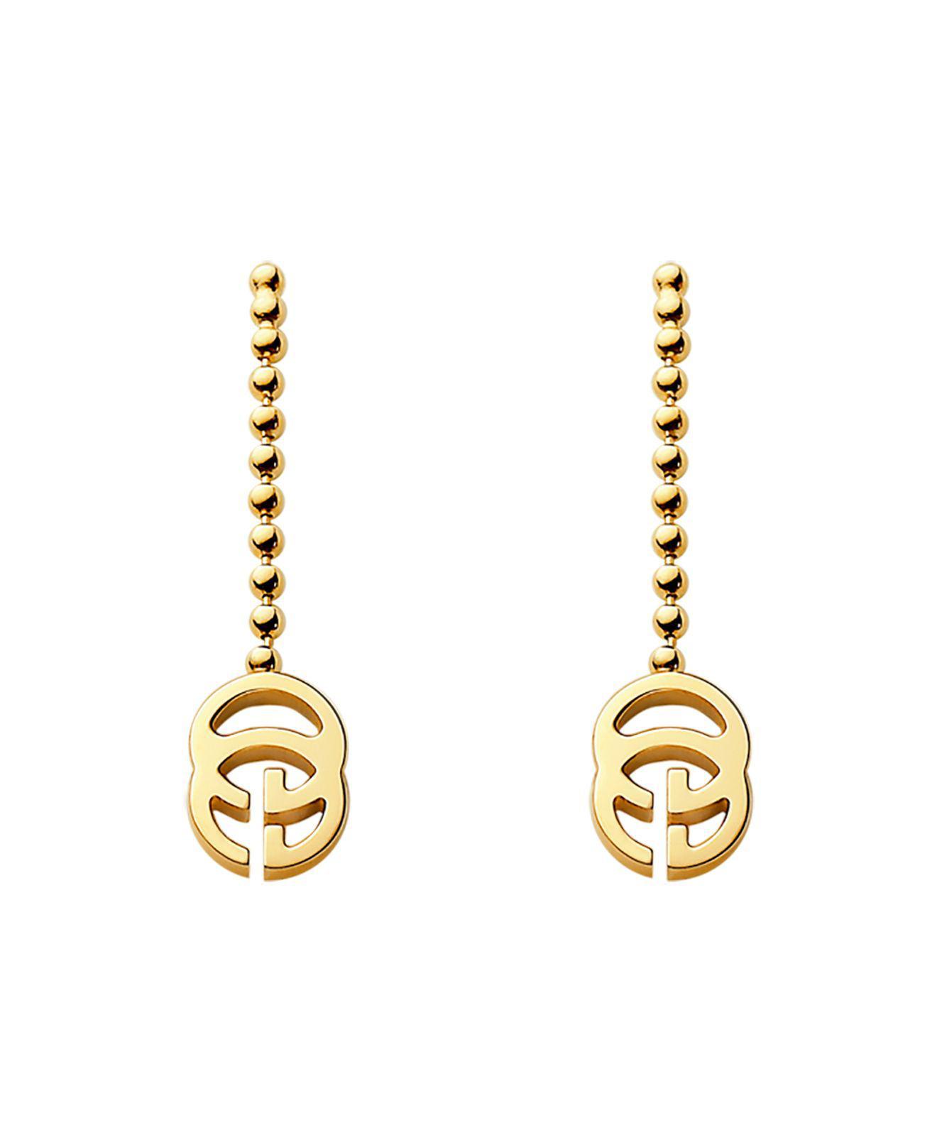 c8867883187f1b Gucci 18k Yellow Gold Running G Earrings in Metallic - Lyst