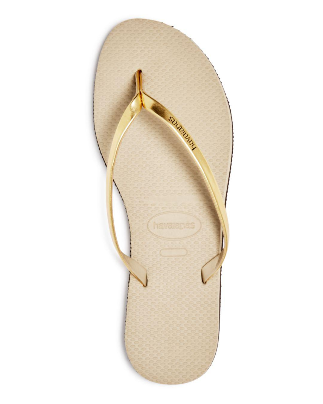 92dadf7c615 Lyst - Havaianas You Metallic Slim Flip-flops in Natural