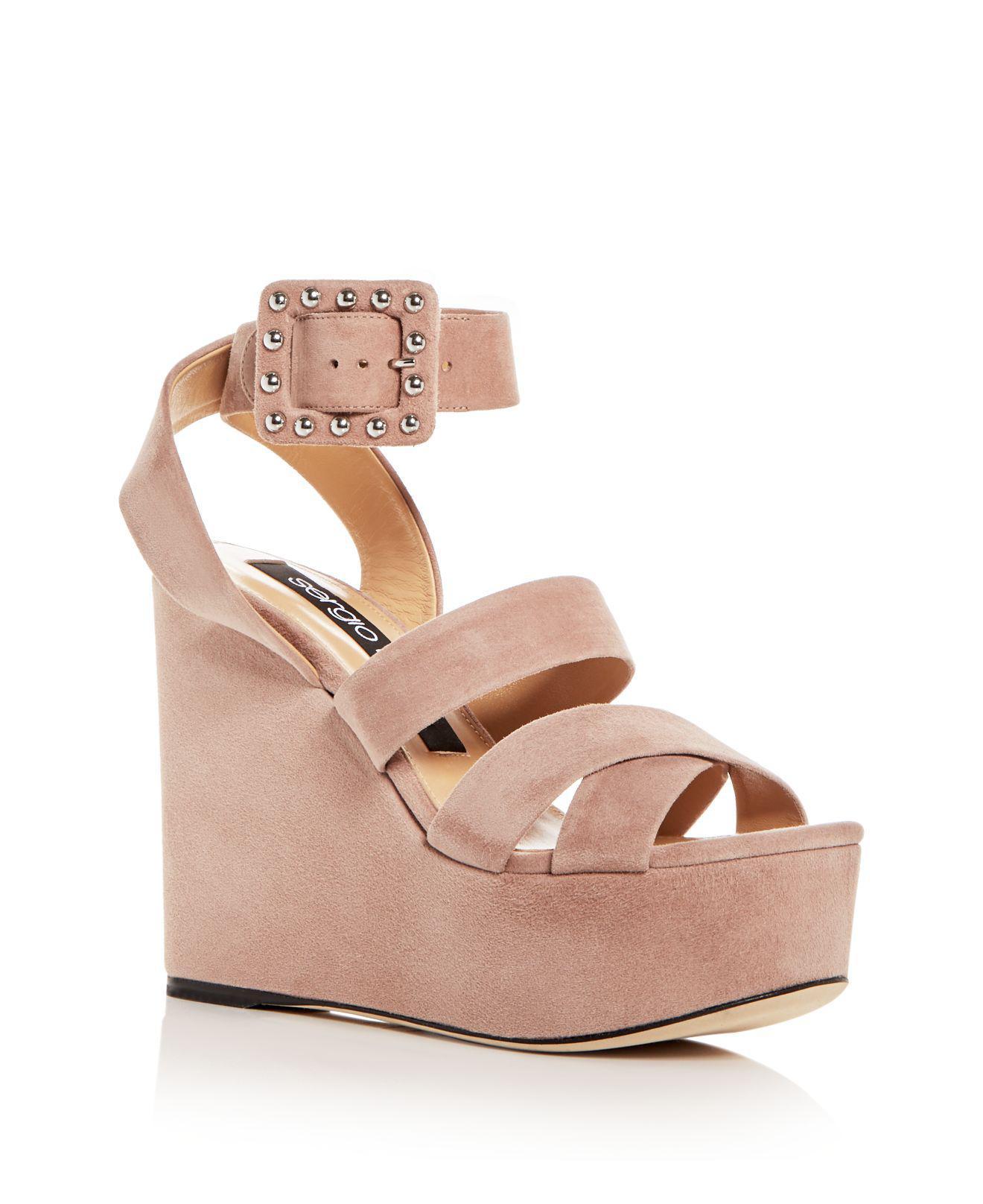 Sergio Rossi Women's Elettra Suede Ankle Strap Platform Wedge Sandals IBR0aiFFKg