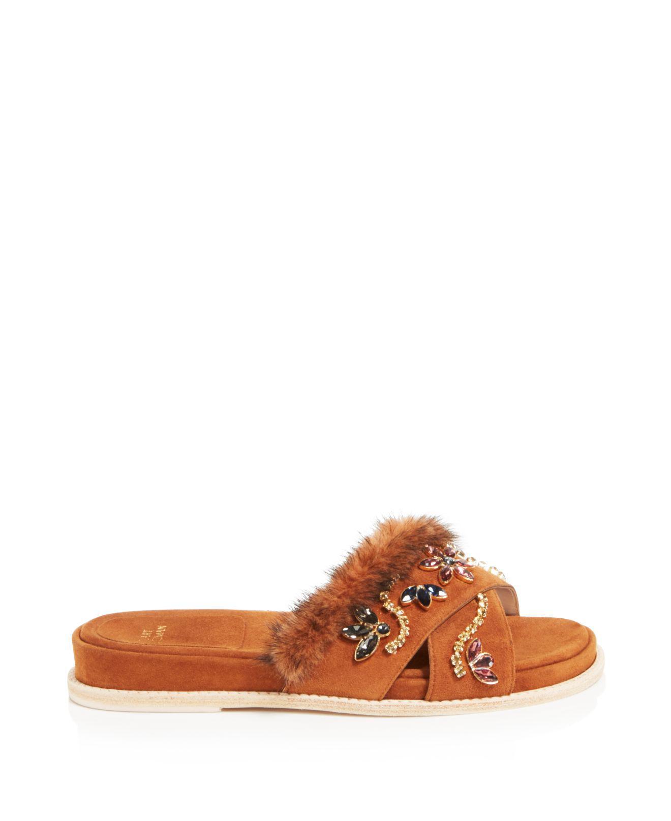 Stuart Weitzman Women's Nomedeplume Suede & Mink Fur Embellished Slide Sandals 8X0y2WEJS